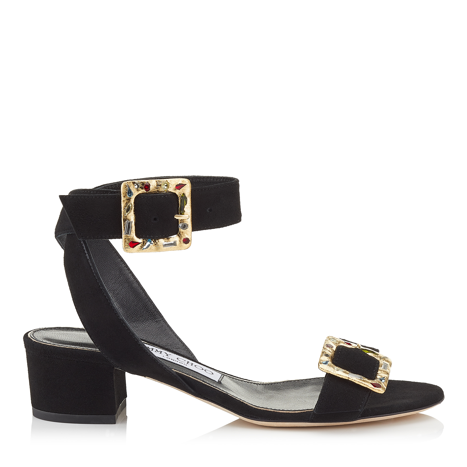 DACHA 35 Black Suede Sandals with Jewelled Buckle by Jimmy Choo