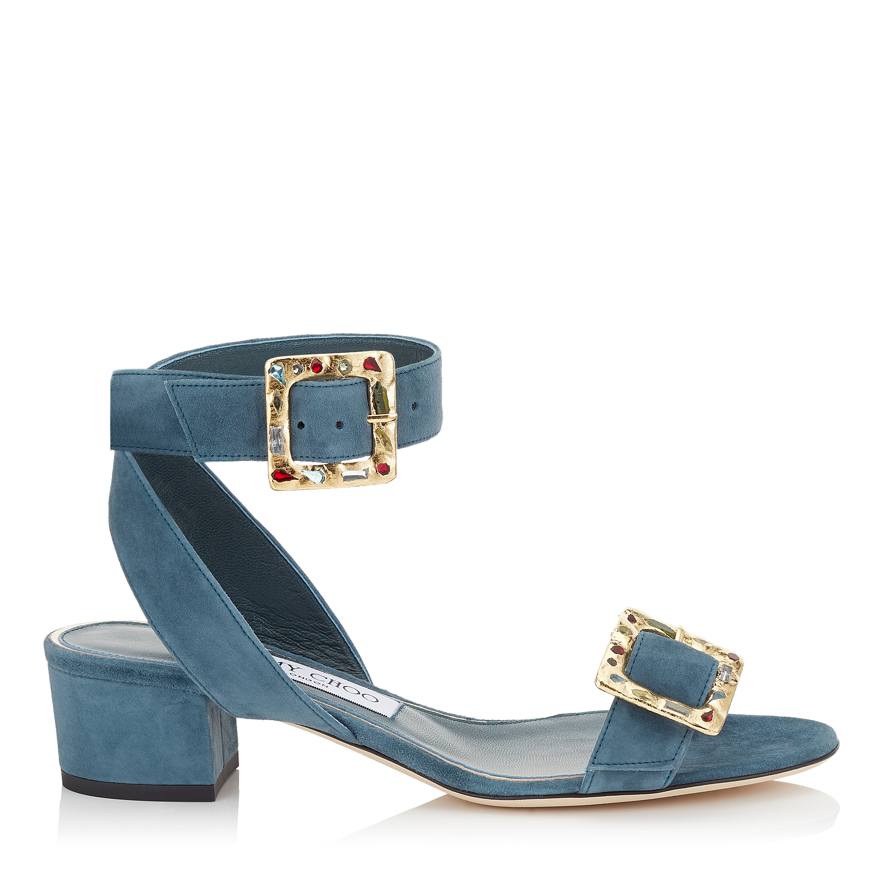 DACHA 35 Dusk Blue Suede Sandals with Jewelled Buckle by Jimmy Choo