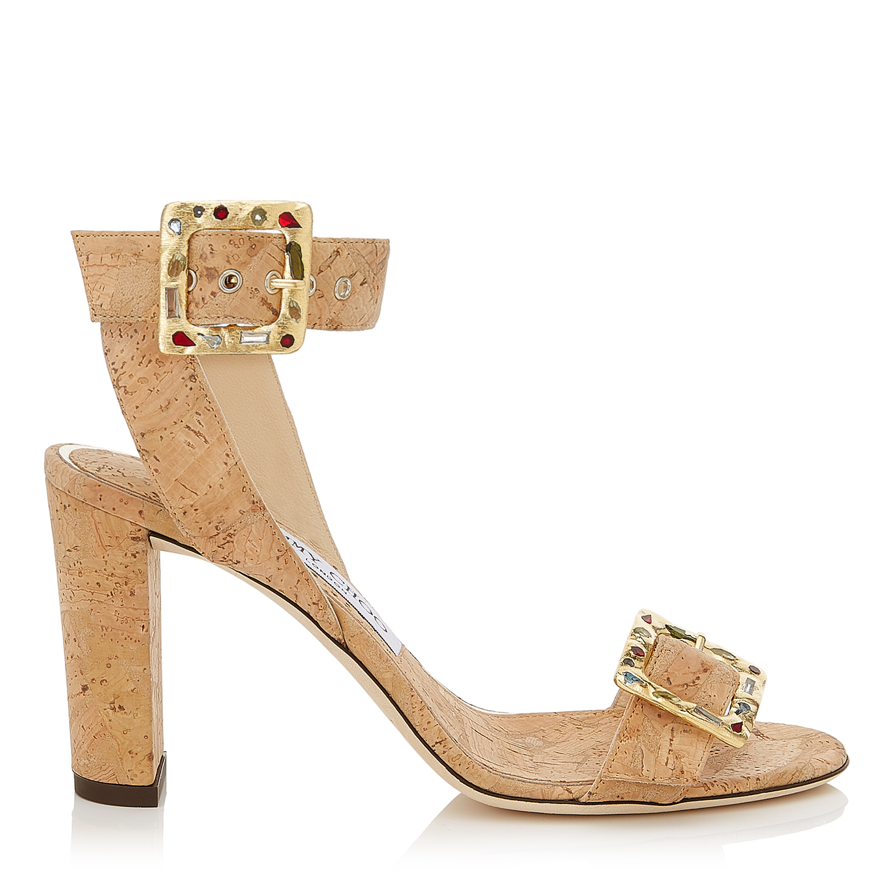 DACHA 85 Natural Cork Sandals with Jewelled Buckle by Jimmy Choo