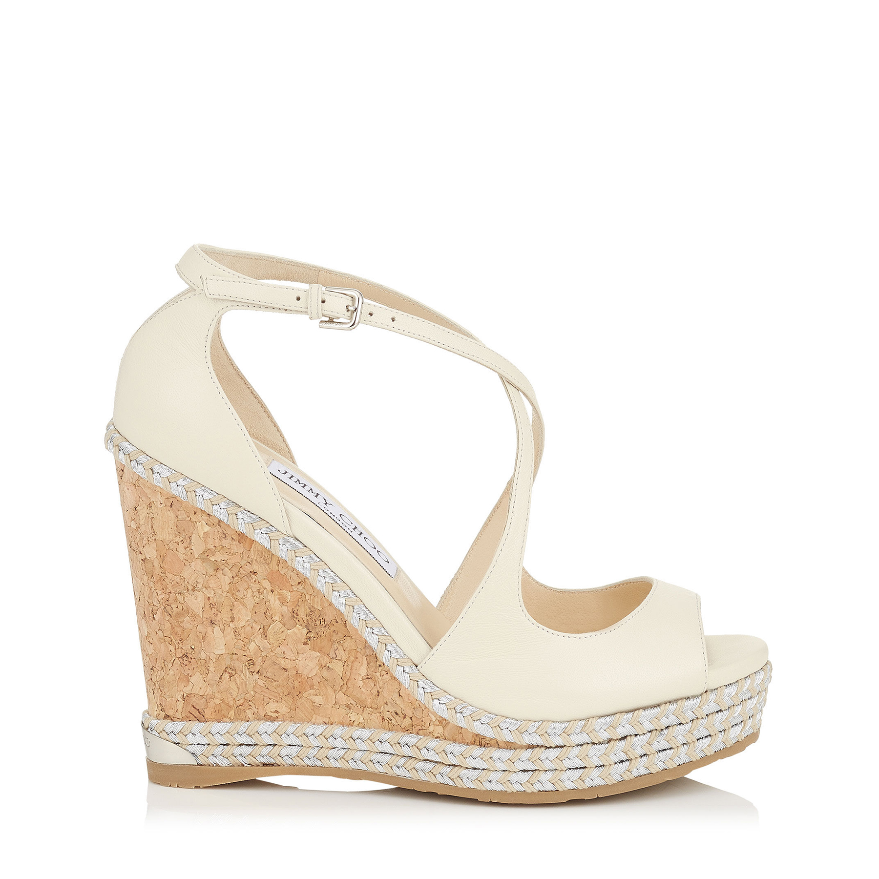 DAKOTA 120 Off White Wedge with Tonal Metallic Raffia by Jimmy Choo