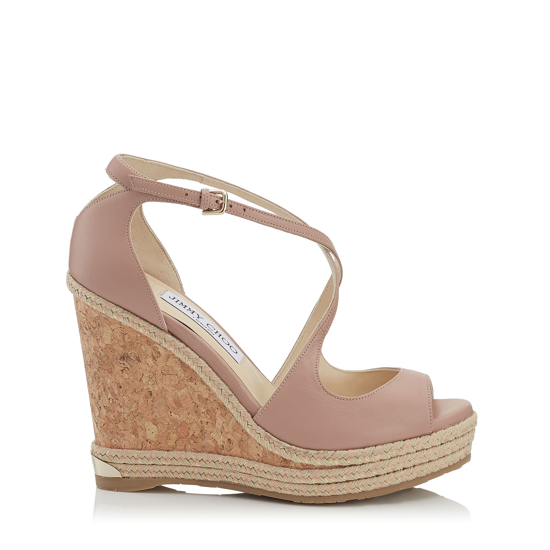 DAKOTA 120 Ballet Pink Nappa Leather Wedge with Tonal Metallic Raffia by Jimmy Choo