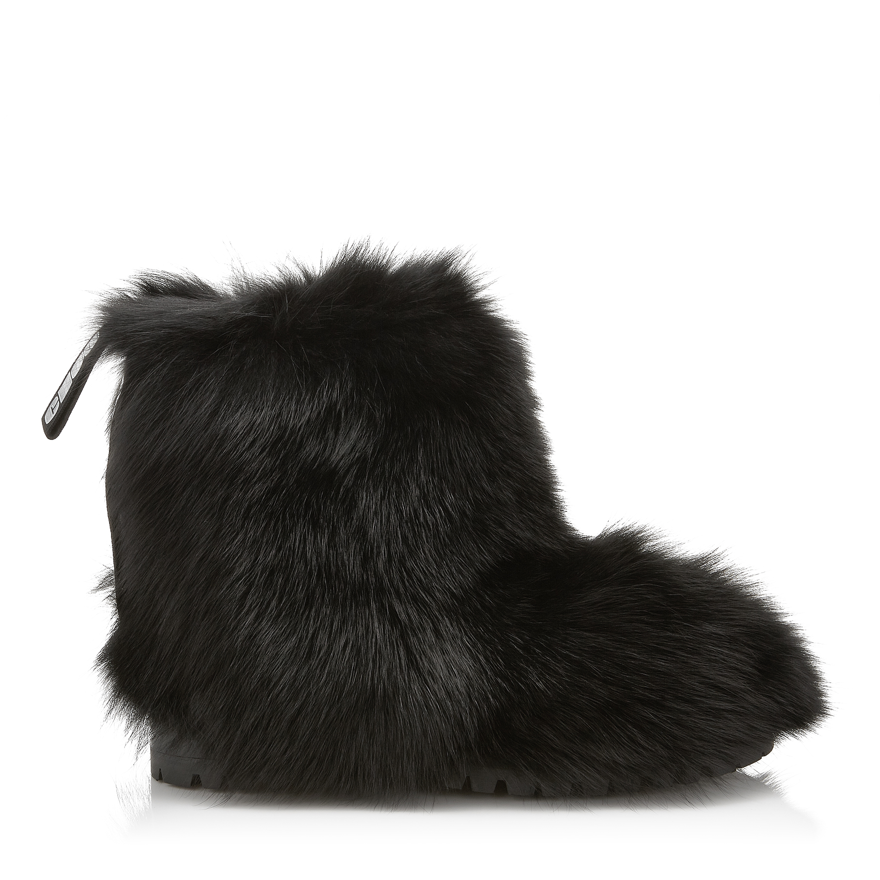 DALTON FLAT Black Fox Fur Boots with Rabbit Fur Lining by Jimmy Choo