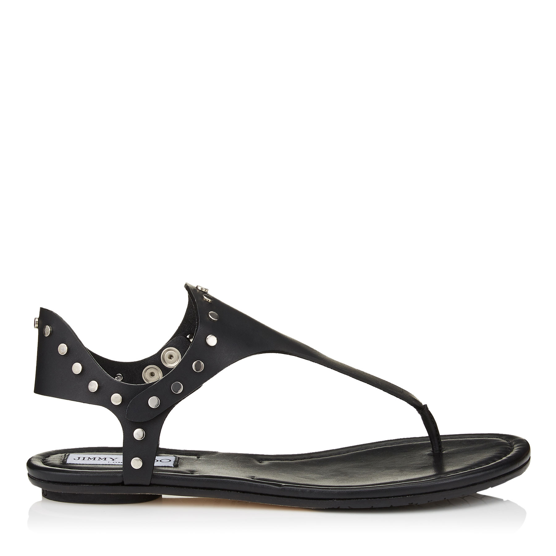 DARA FLAT Dara Black Vacchetta Leather Sandals. by Jimmy Choo