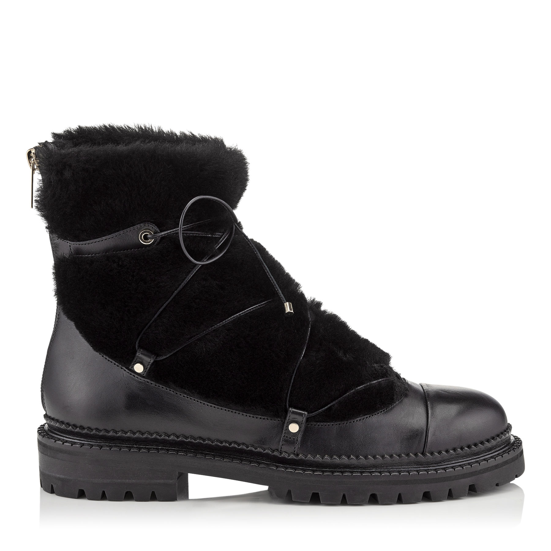 DARCIE FLAT Black Leather Boots with Shearling by Jimmy Choo