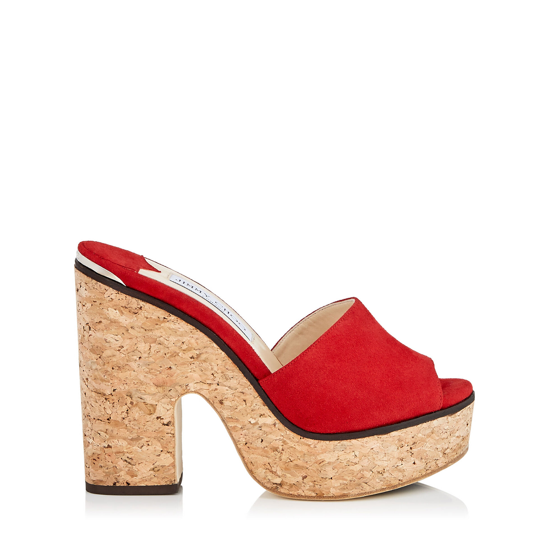 DEEDEE 125 Red Suede Sandal Wedges by Jimmy Choo