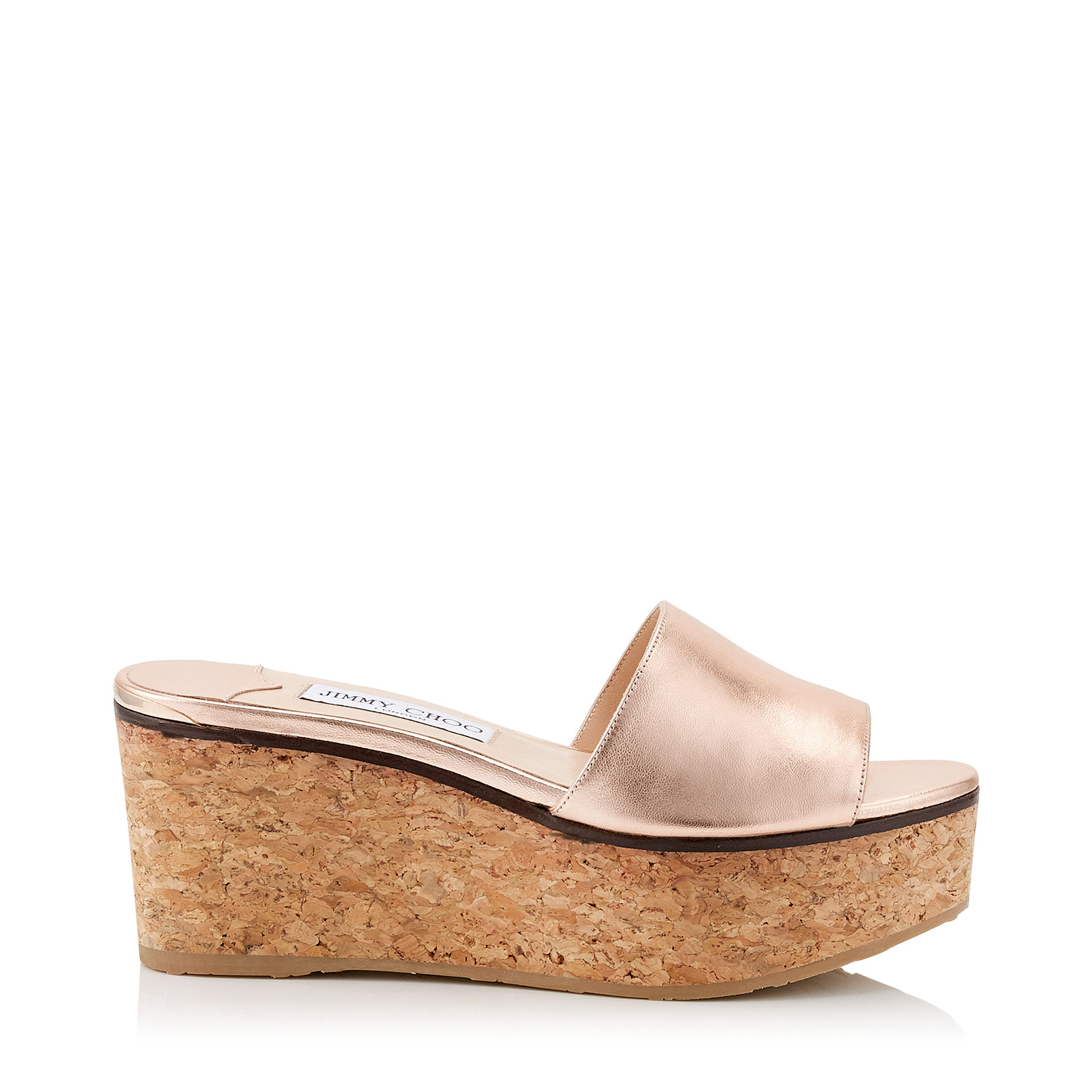 DEEDEE 80 Tea Rose Metallic Nappa Leather Sandal Wedges by Jimmy Choo