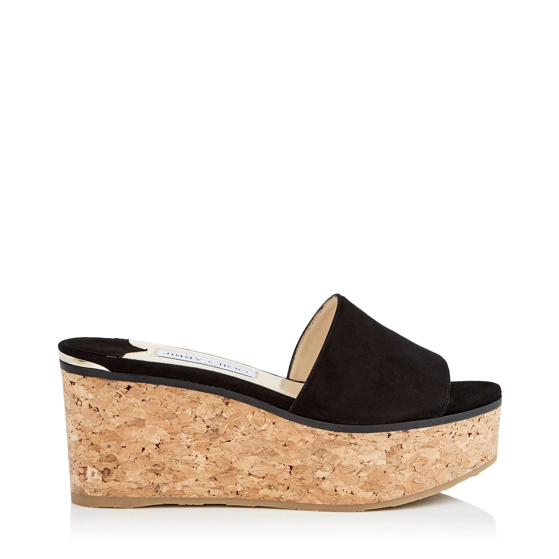 DEEDEE 80 Black Suede Sandal Wedges by Jimmy Choo