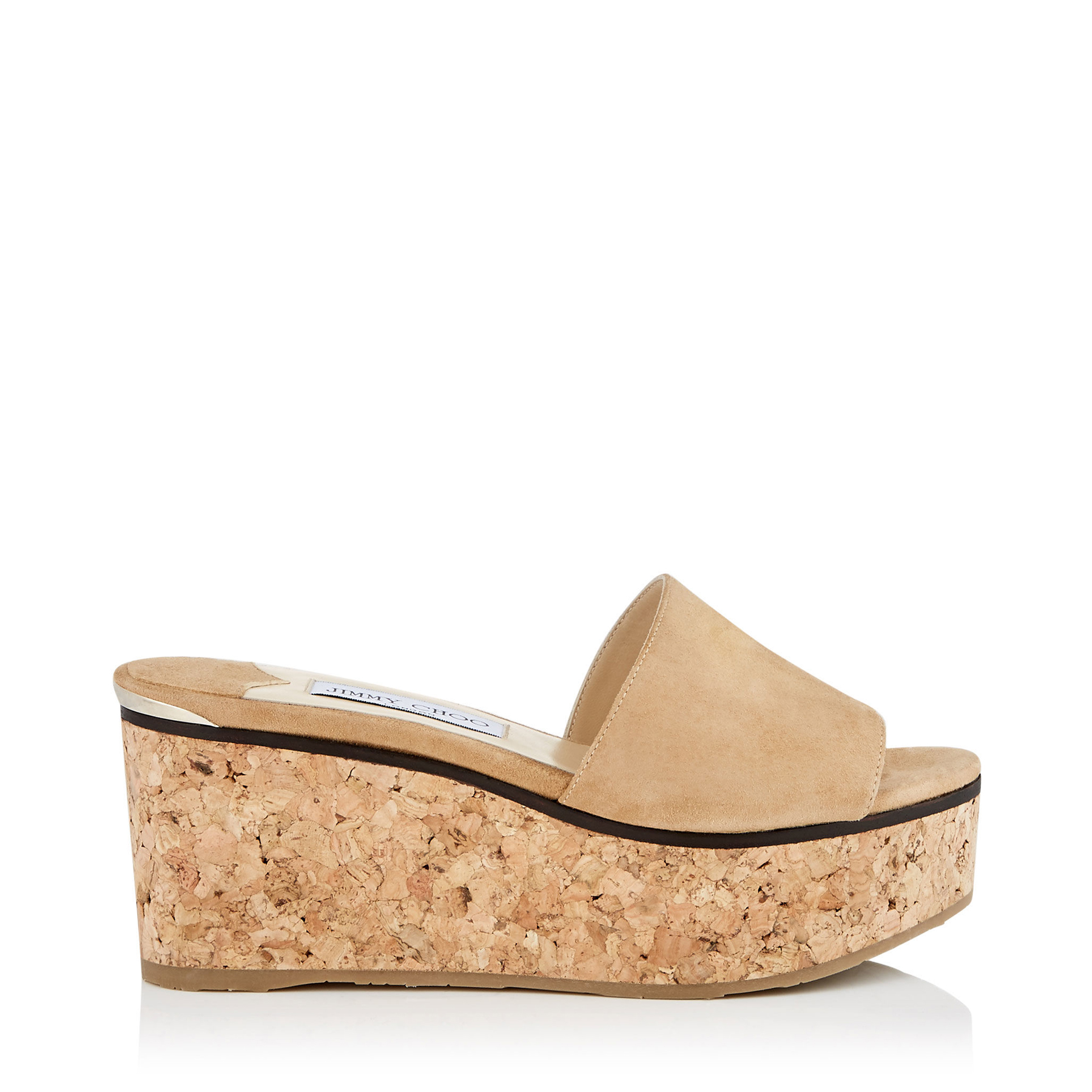 DEEDEE 80 Camel Suede Sandal Wedges by Jimmy Choo