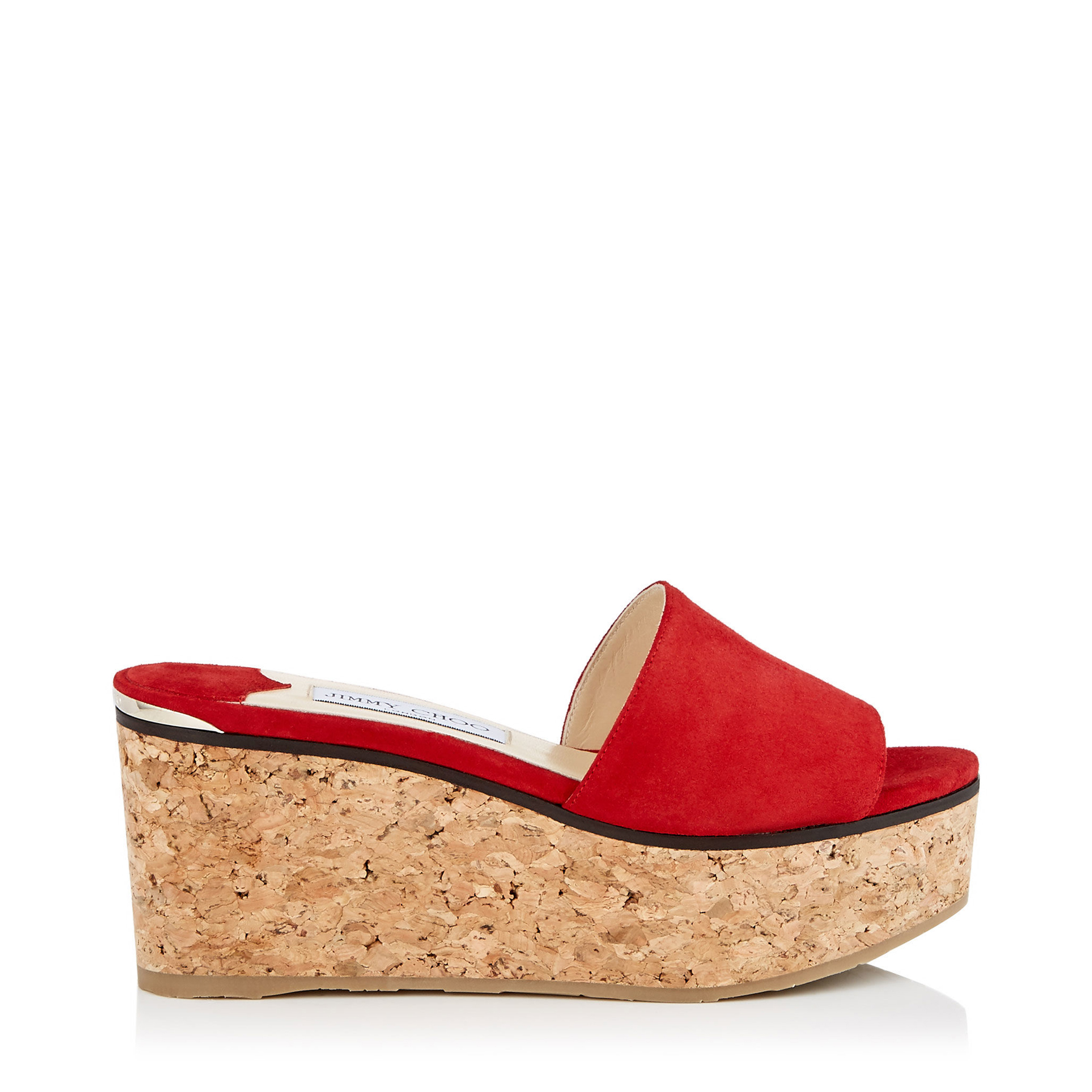 DEEDEE 80 Red Suede Sandal Wedges by Jimmy Choo