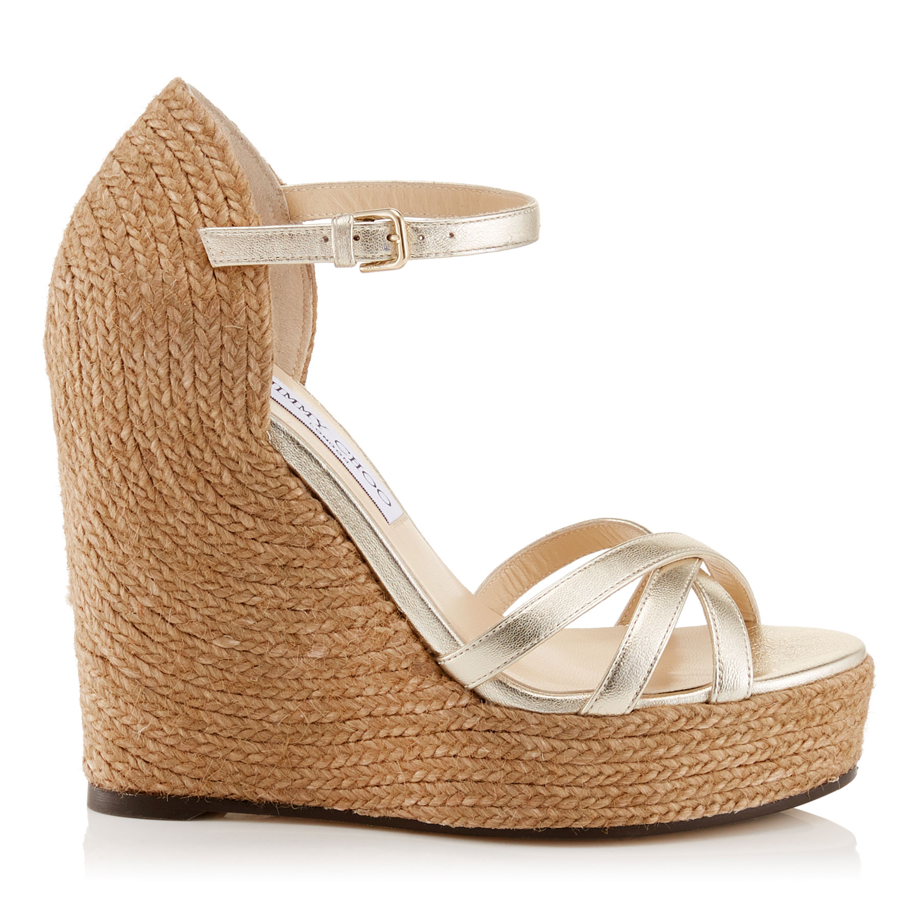 DELANEY 125 Champagne Washed Metallic Nappa Leather Wedges with Braided Rope Detailing by Jimmy Choo