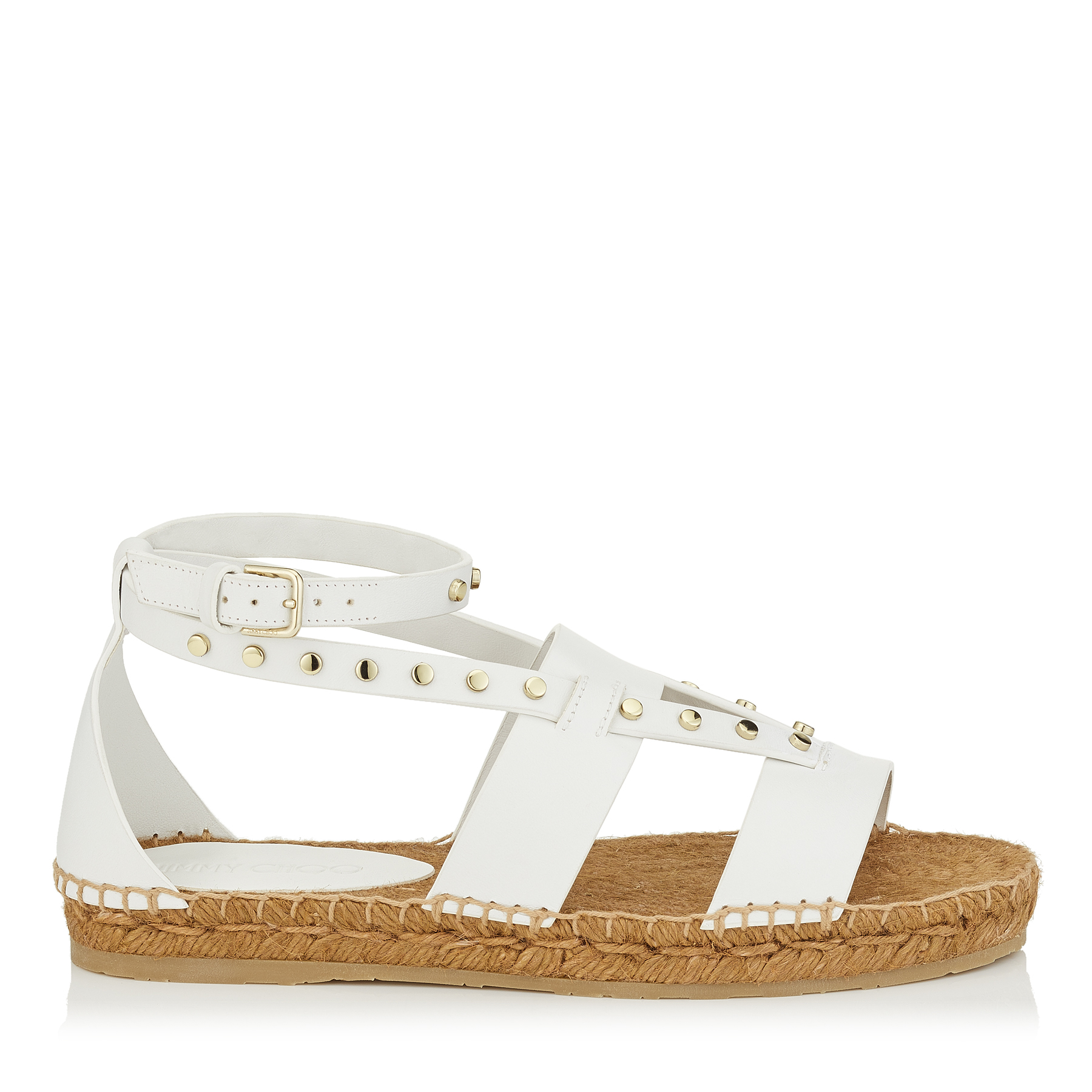 DENISE FLAT Tan Vachetta Leather Sandals with Studs by Jimmy Choo