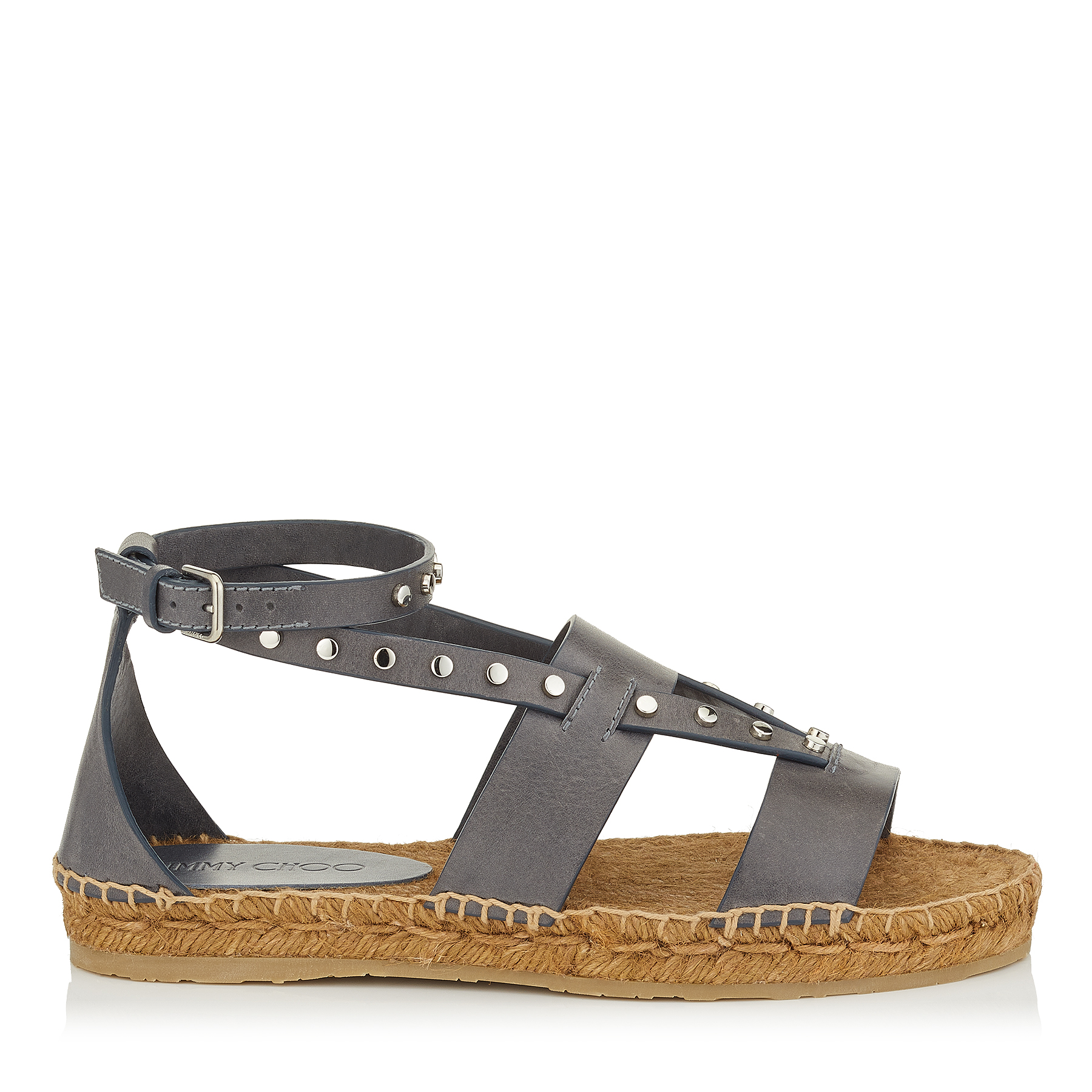 DENISE FLAT Grey Vachetta Leather Sandals with Studs by Jimmy Choo