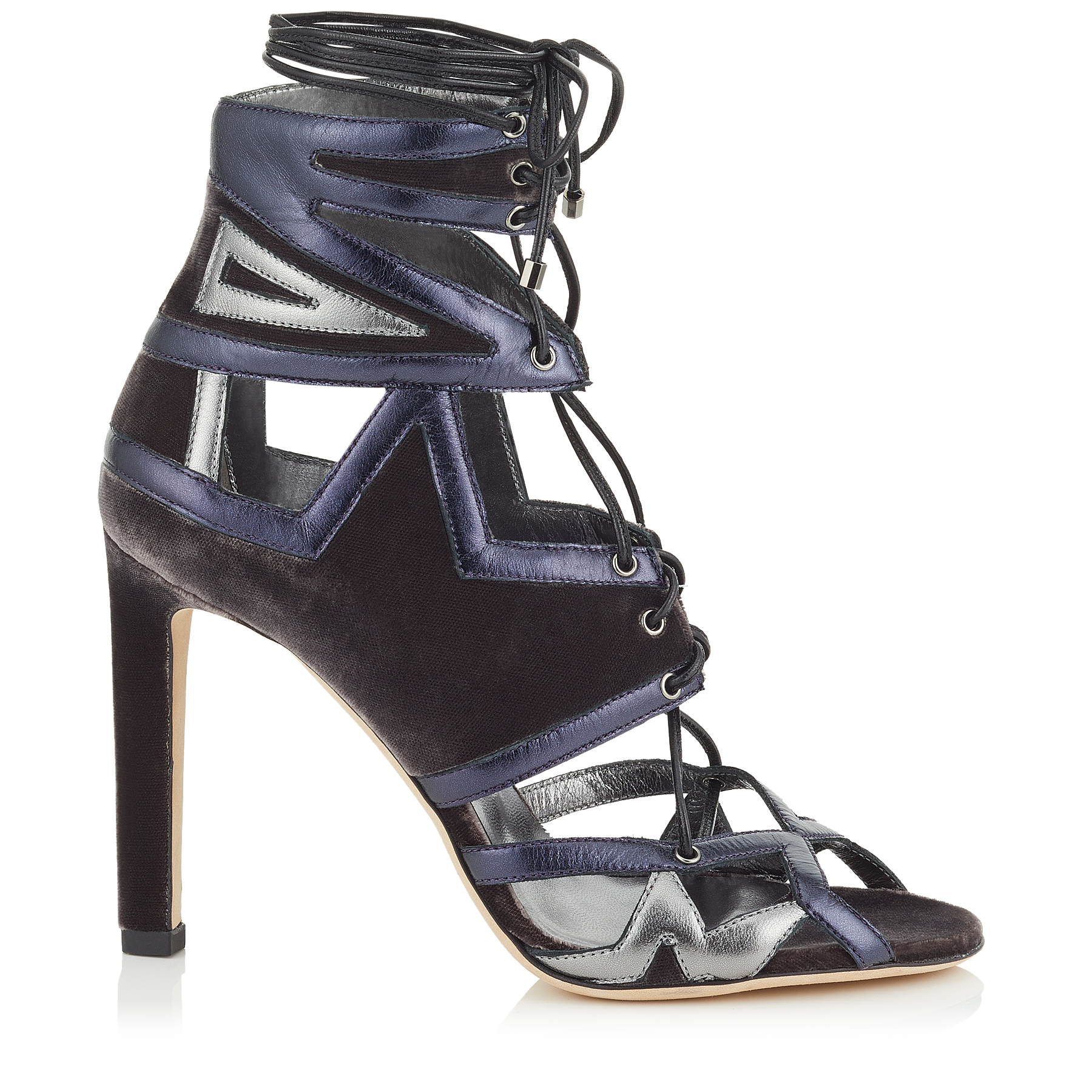 DENNEY 100 Mink Velvet and Metallic Nappa Leather Sandals by Jimmy Choo