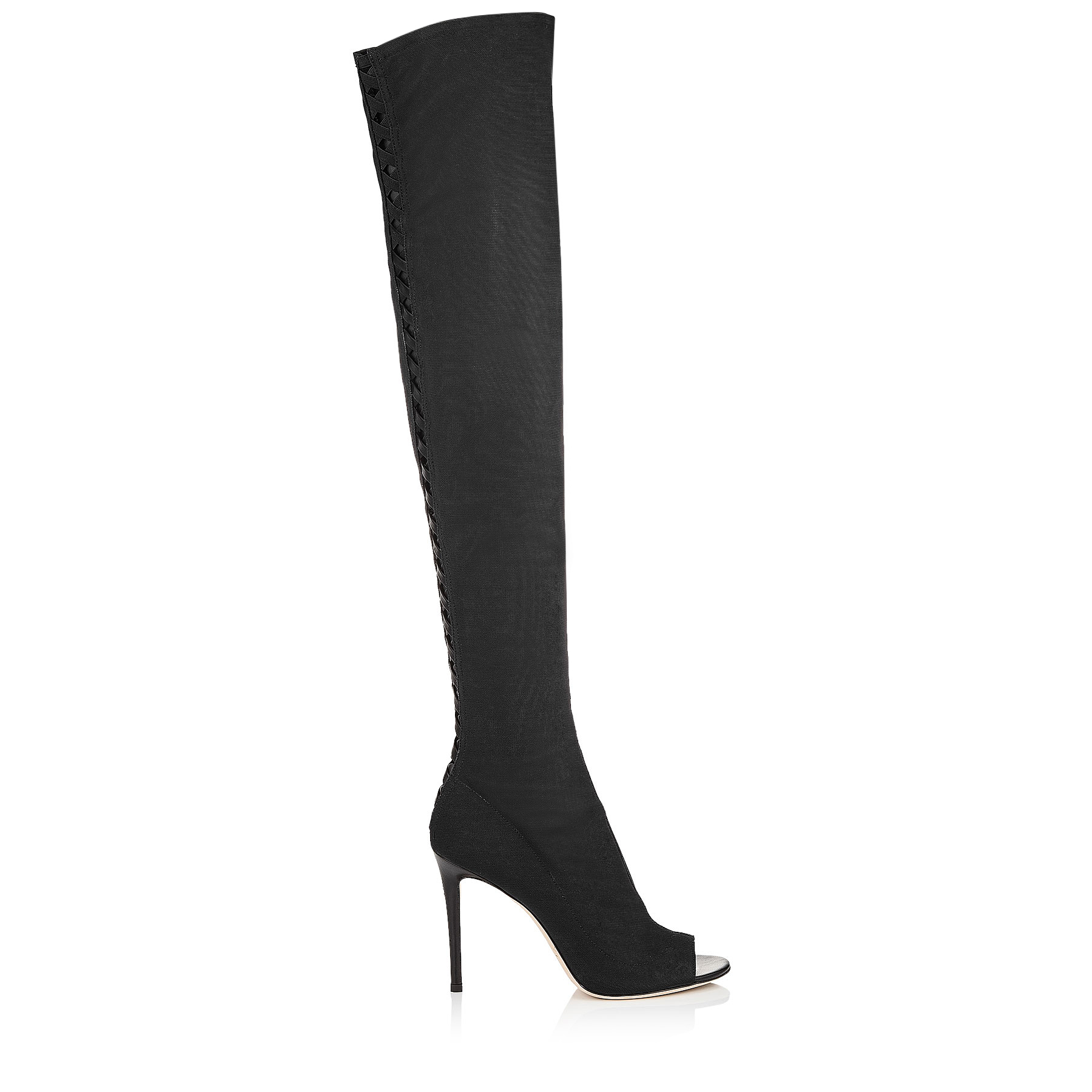 DESAI 100 Black Fabric Mesh and Nappa Leather Over The Knee Boots by Jimmy Choo