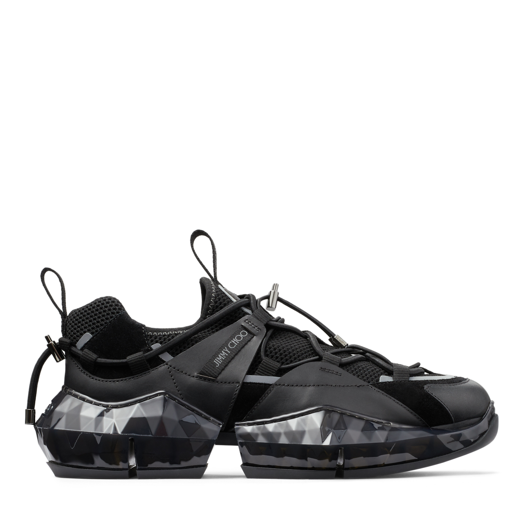 Jimmy Choo Shoes DIAMOND TRAIL/M BLACK STRETCH MESH DIAMOND TRAIL TRAINERS WITH LEATHER DETAILING