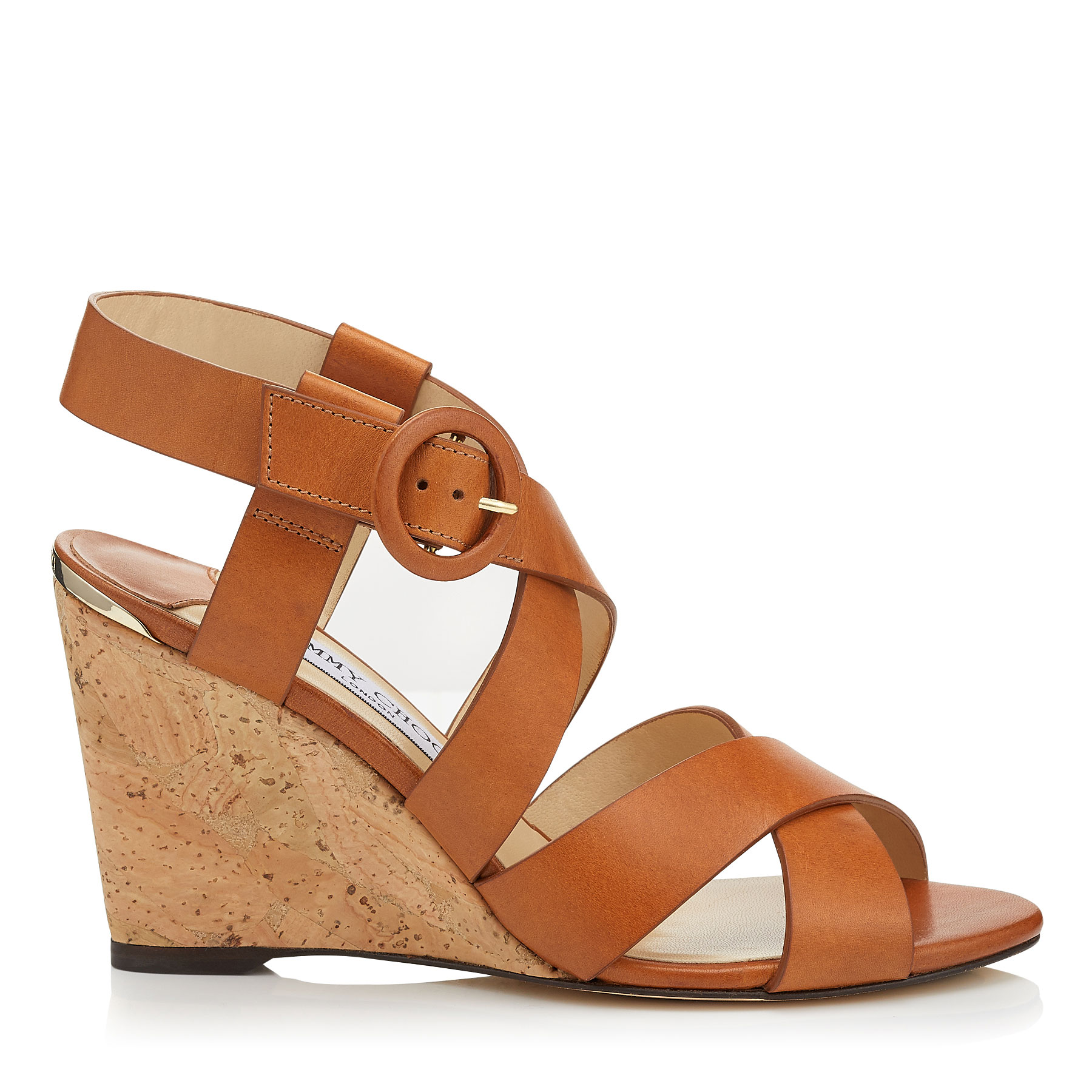 DOMENIQUE 85 Tan Vachetta Leather Cork Wedges by Jimmy Choo