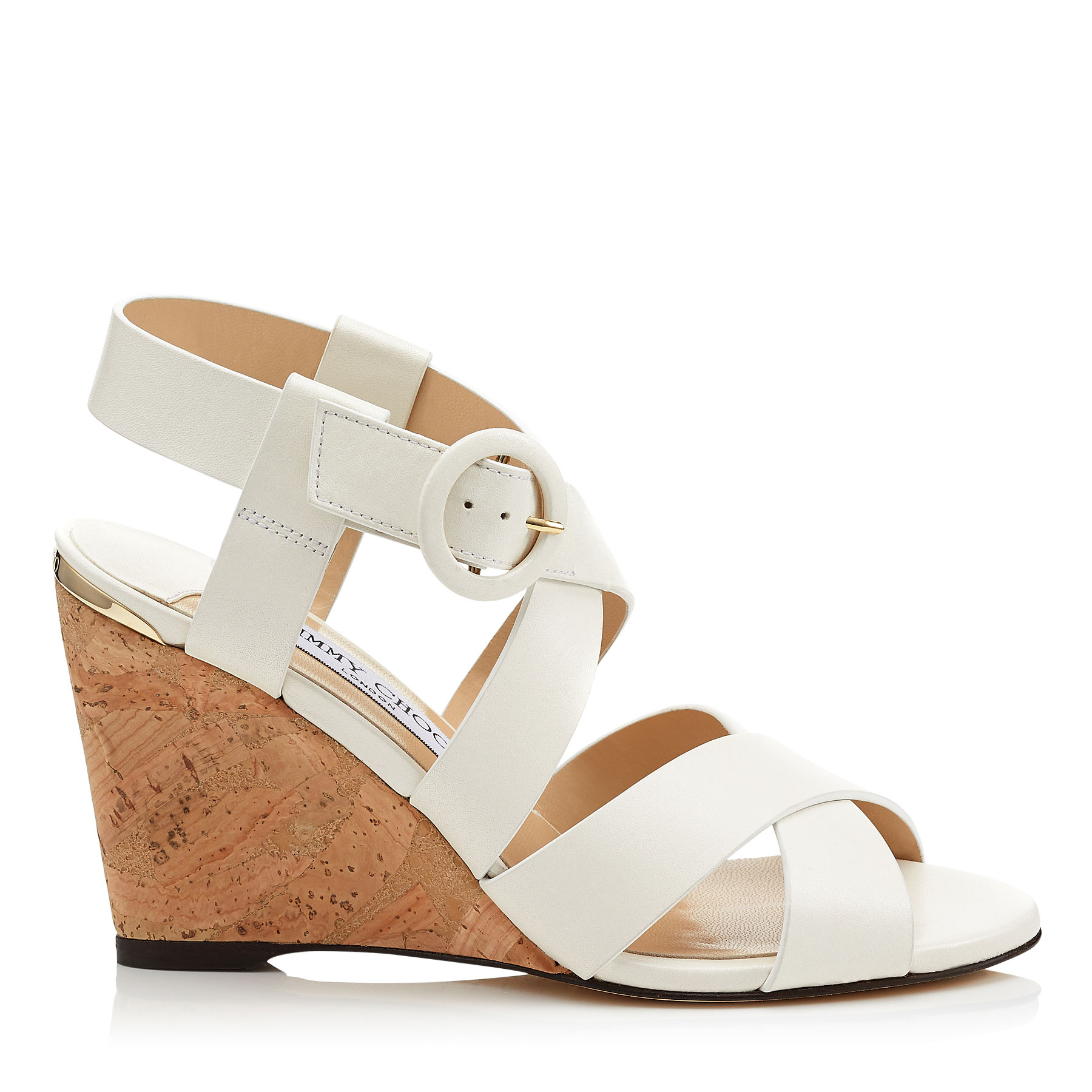 DOMENIQUE 85 White Vachetta Leather Cork Wedges by Jimmy Choo