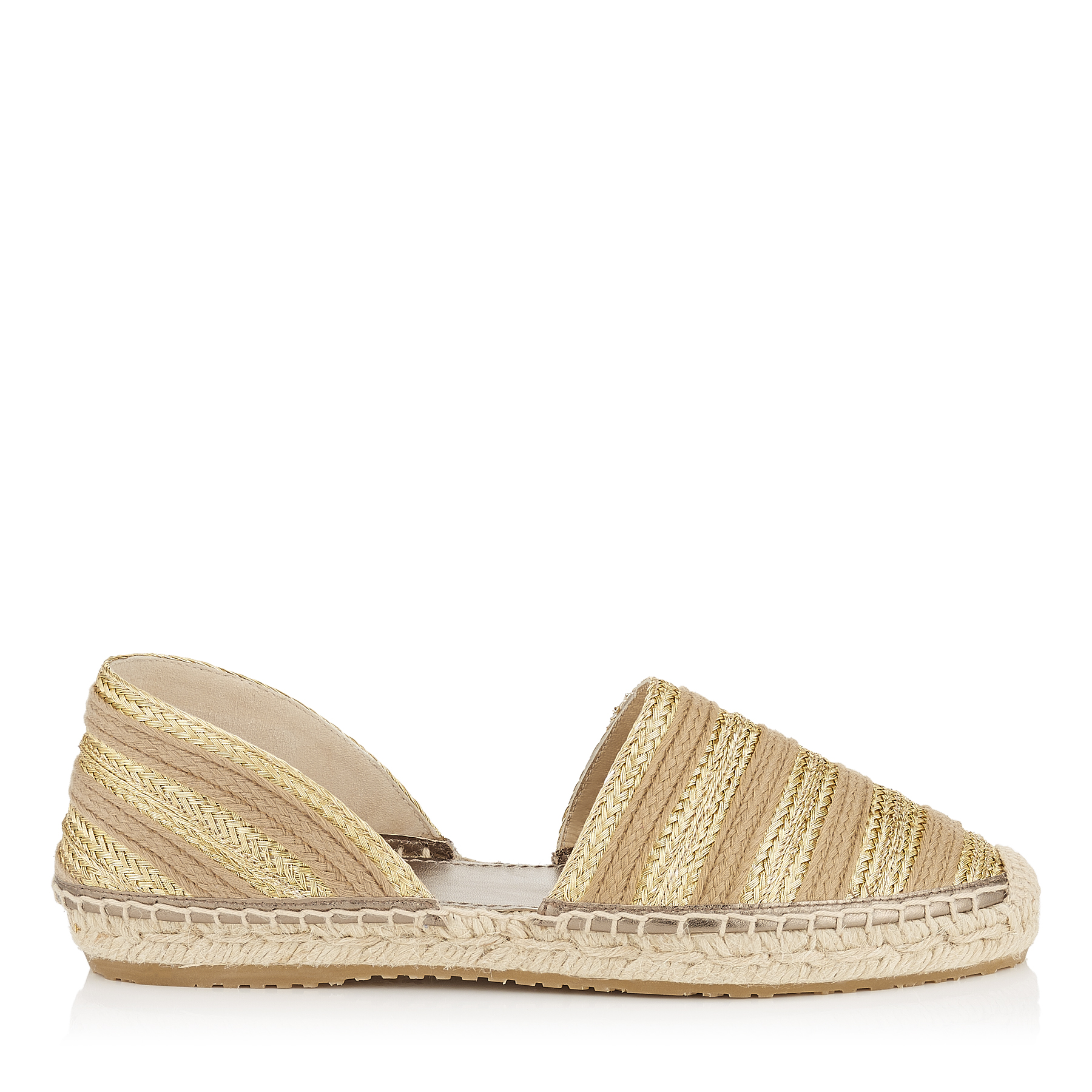 DREYA Gold Mix Striped Metallic Braided Rope Espadrilles by Jimmy Choo