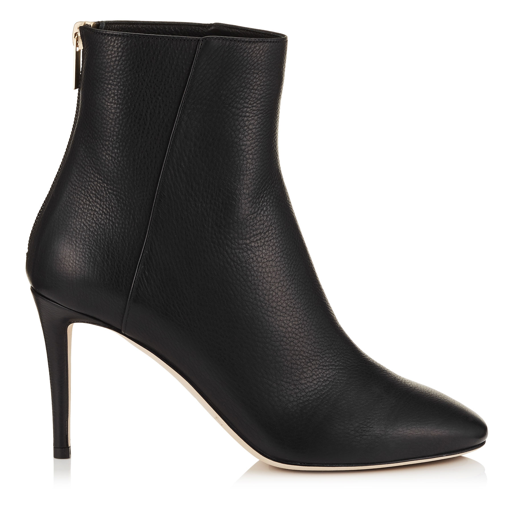 DUKE 85 Black Grainy Calf Leather Ankle Boots by Jimmy Choo