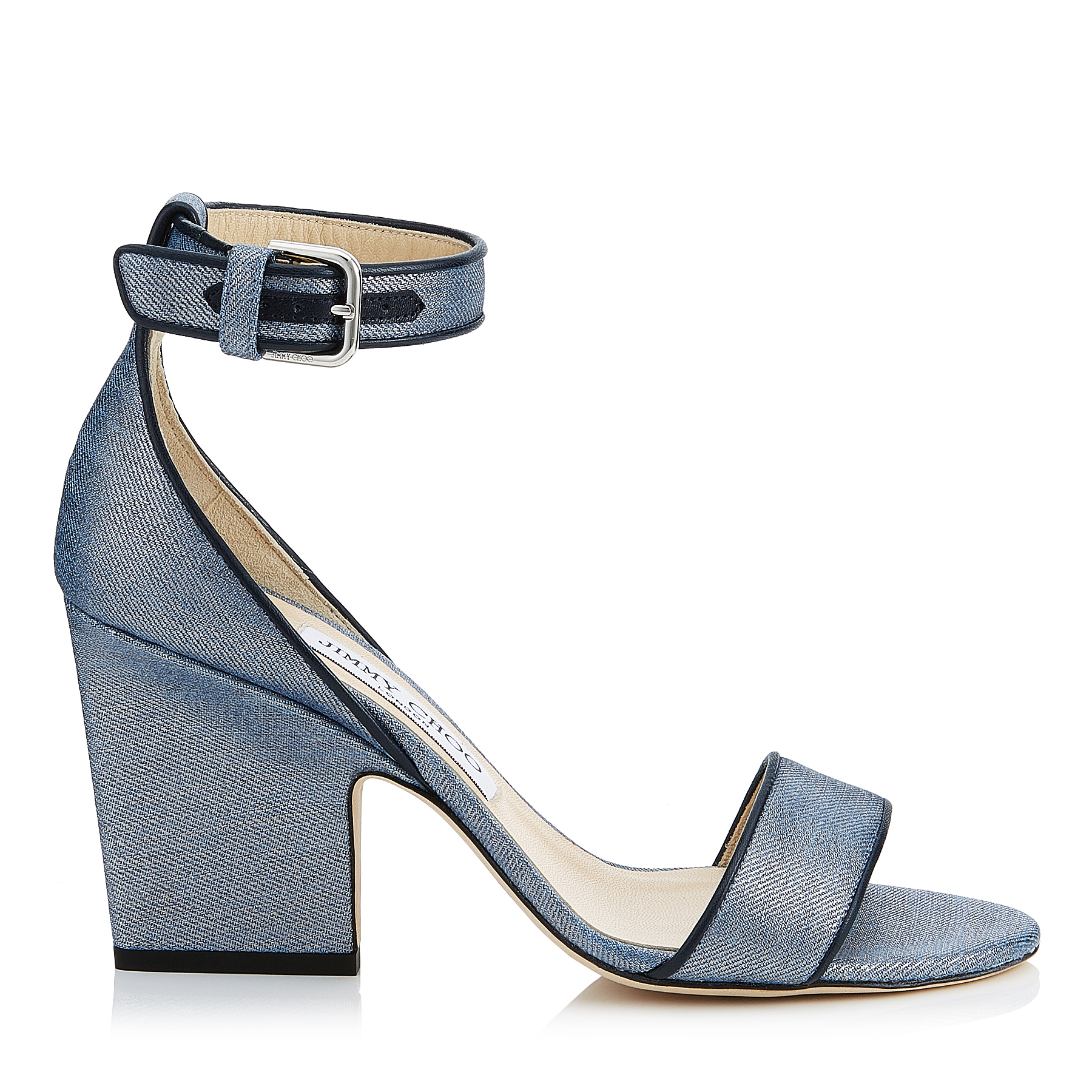 EDINA 85 Dusk Blue Metallic Denim Fabric Wedges by Jimmy Choo