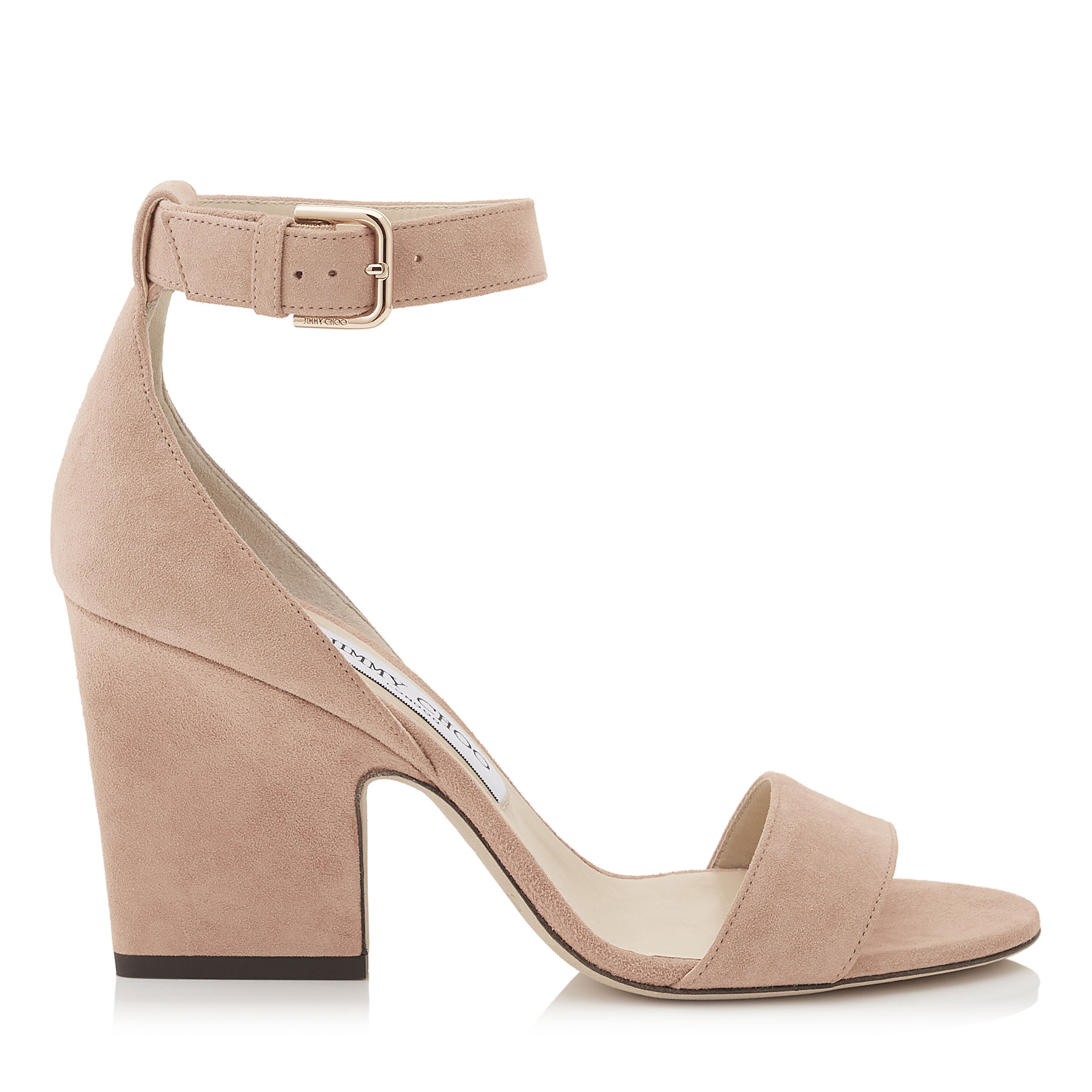 EDINA 85 Ballet Pink Suede Wedges by Jimmy Choo