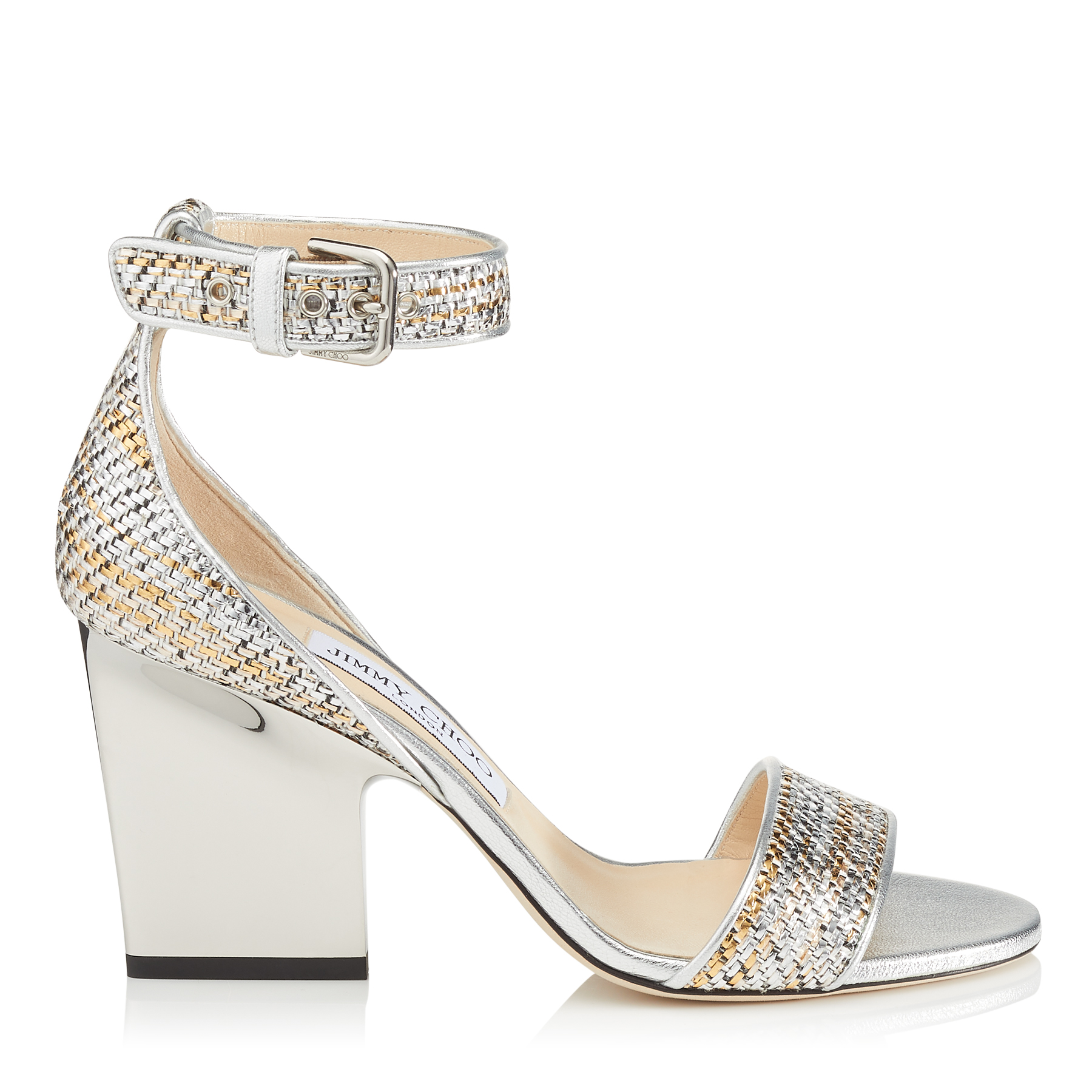 EDINA 85 Silver Mix Woven Metallic Fabric Wedges by Jimmy Choo