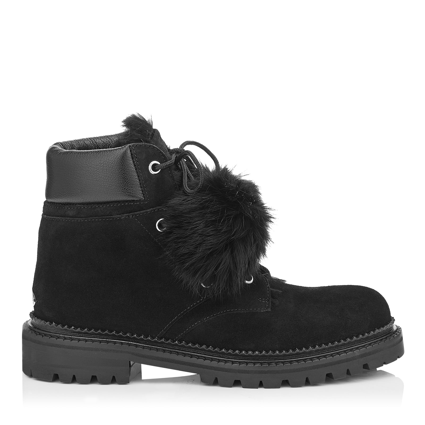 ELBA FLAT Black Suede Boots with Rabbit Fur Lining by Jimmy Choo