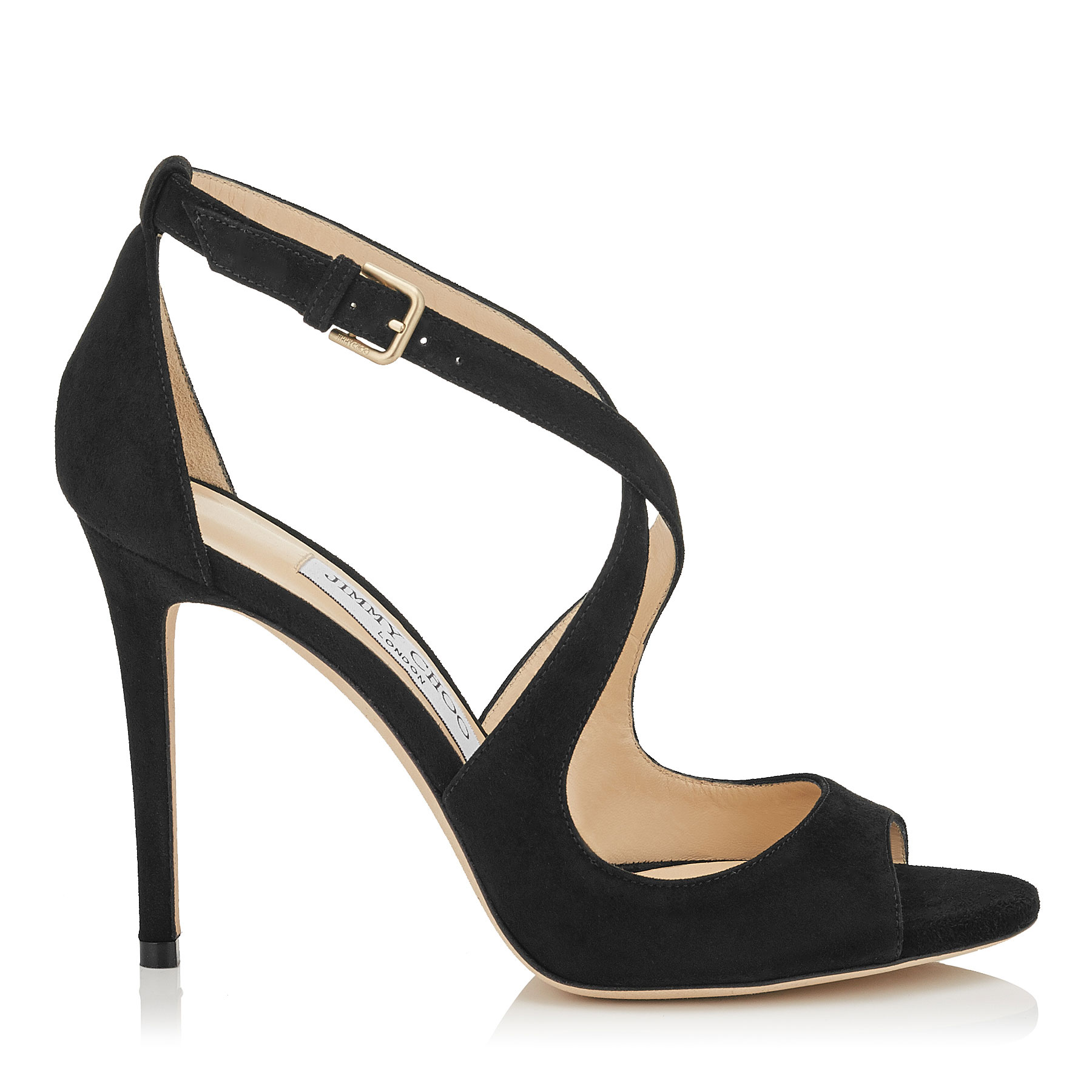 EMILY 100 Black Suede Sandals by Jimmy Choo