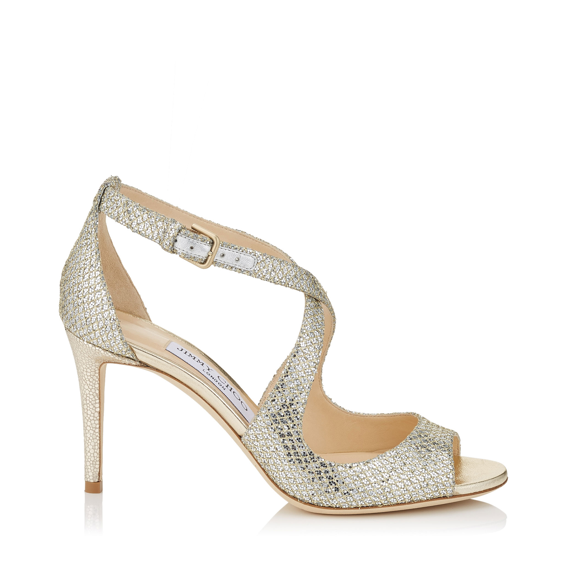 EMILY 85 Champagne Glitter Fabric Sandals by Jimmy Choo