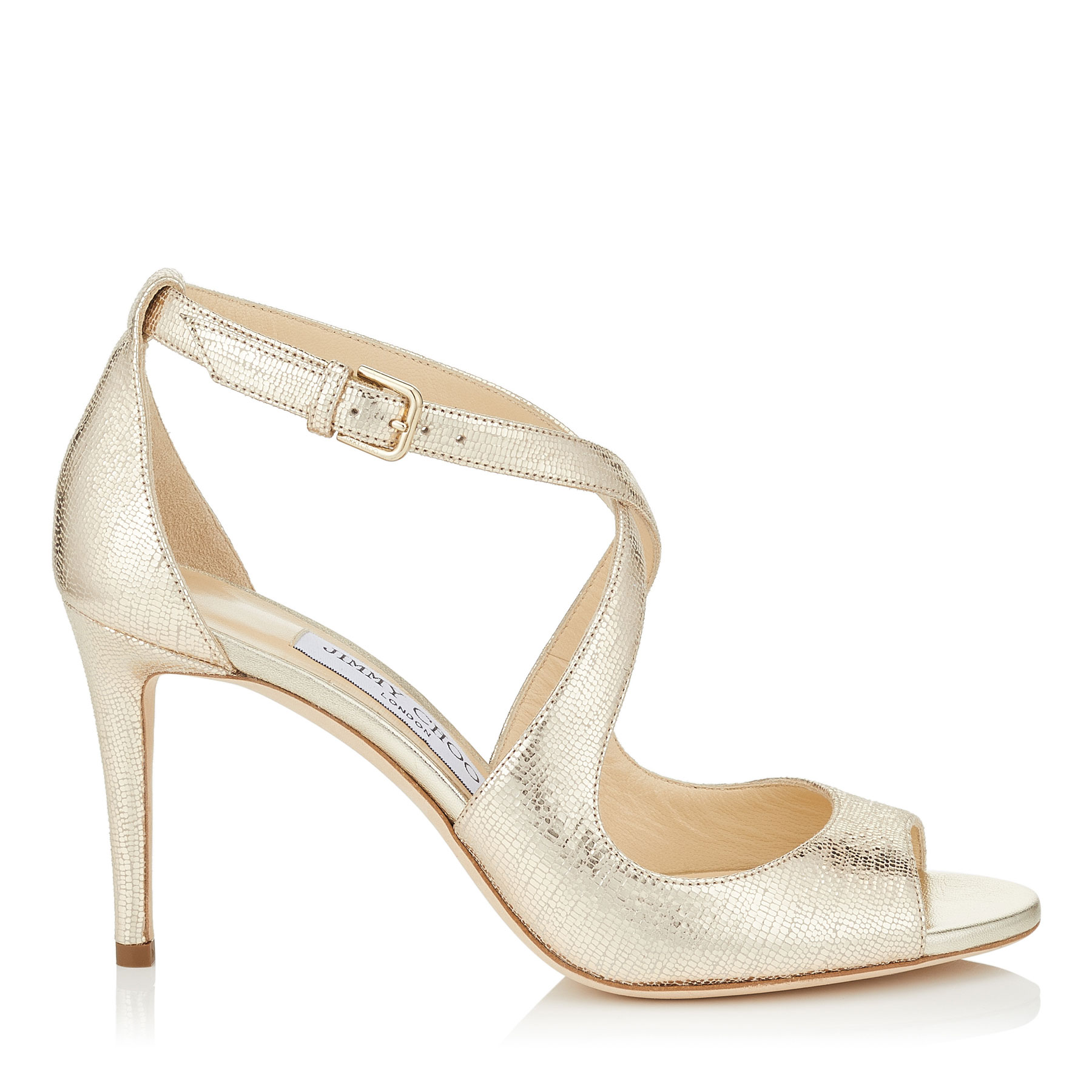 EMILY 85 Gold Metallic Printed Leather Sandals by Jimmy Choo