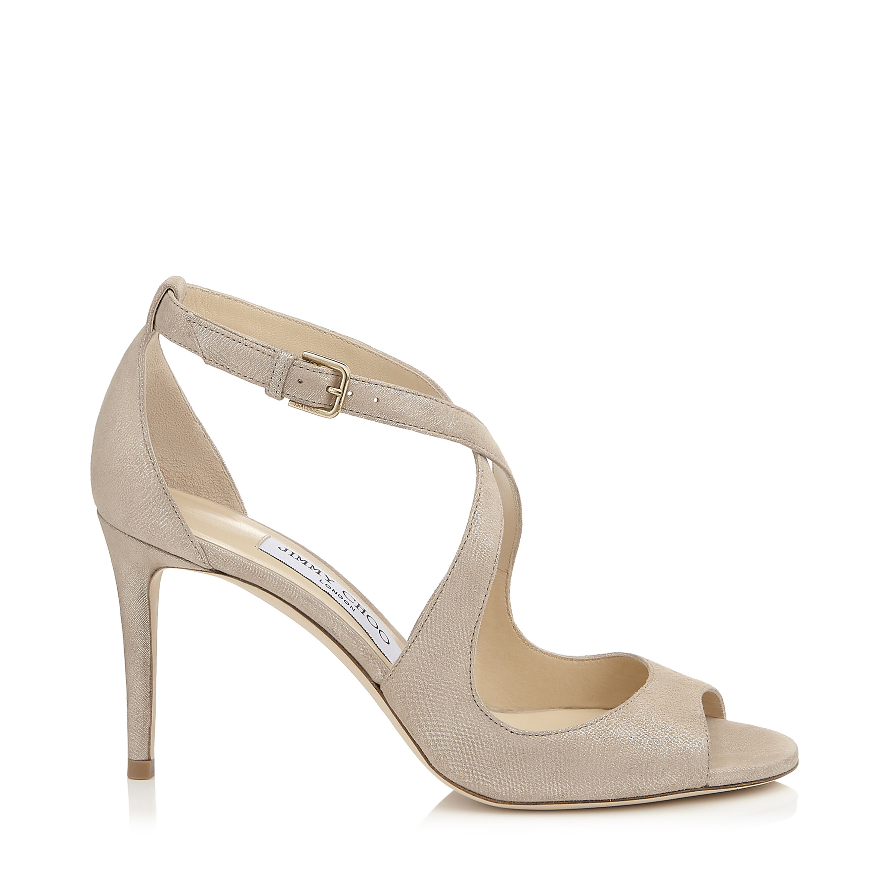 EMILY 85 Sand Shimmer Suede Sandals by Jimmy Choo