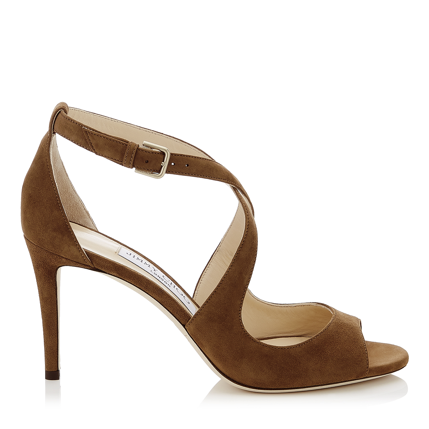 EMILY 85 Cacao Suede Sandals by Jimmy Choo