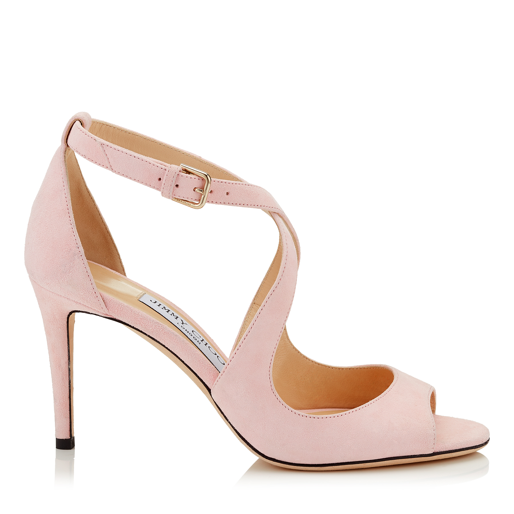 EMILY 85 Rosewater Suede Sandals by Jimmy Choo