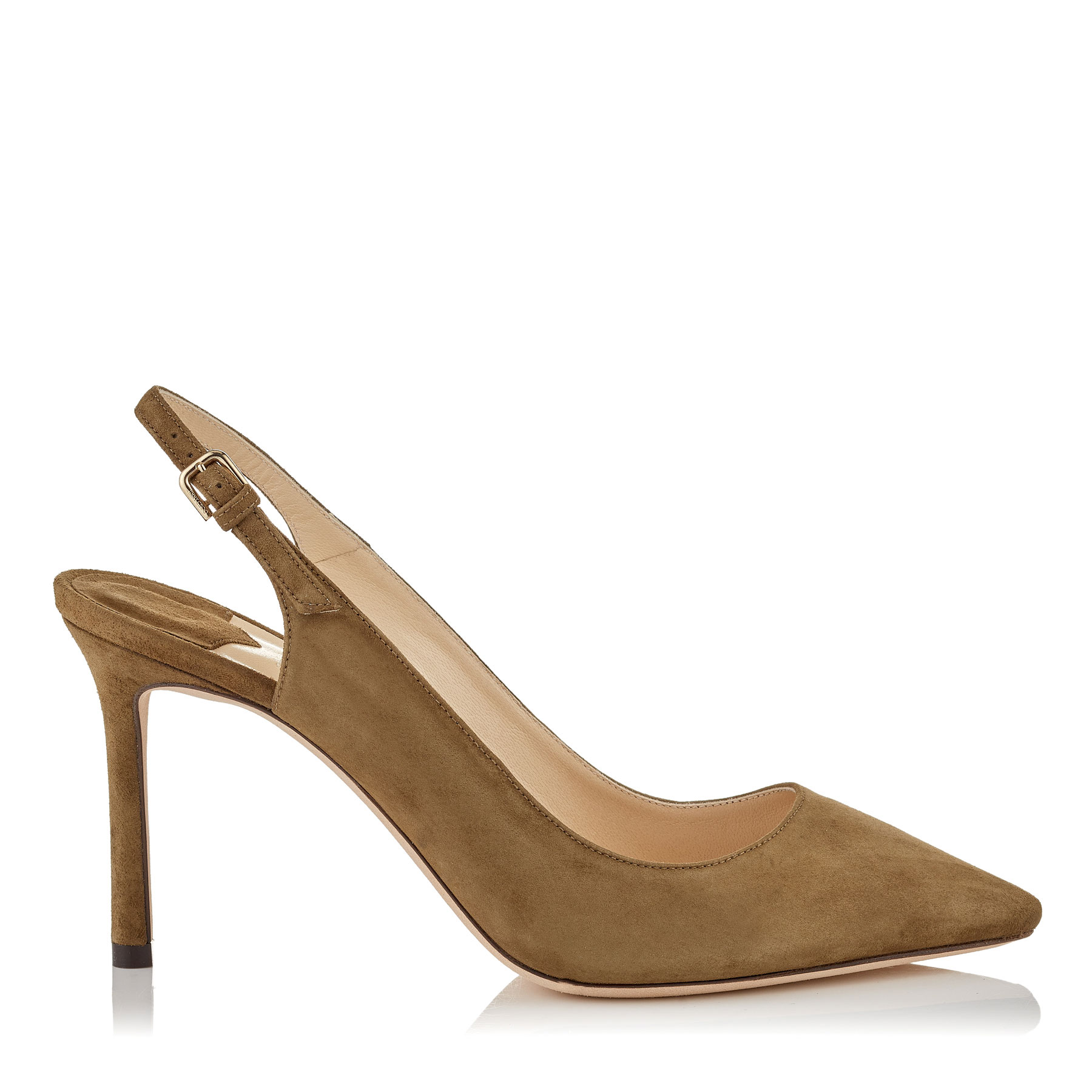 ERIN 85 Olive Suede Sling Back Pumps by Jimmy Choo
