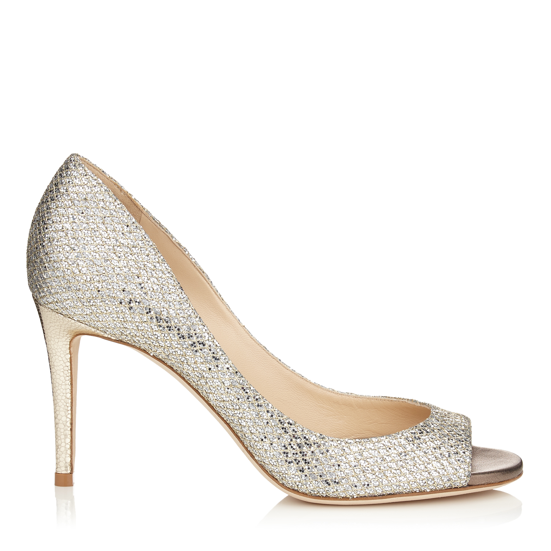 EVELYN 85 Champagne Glitter Fabric Peep Toe Pumps by Jimmy Choo