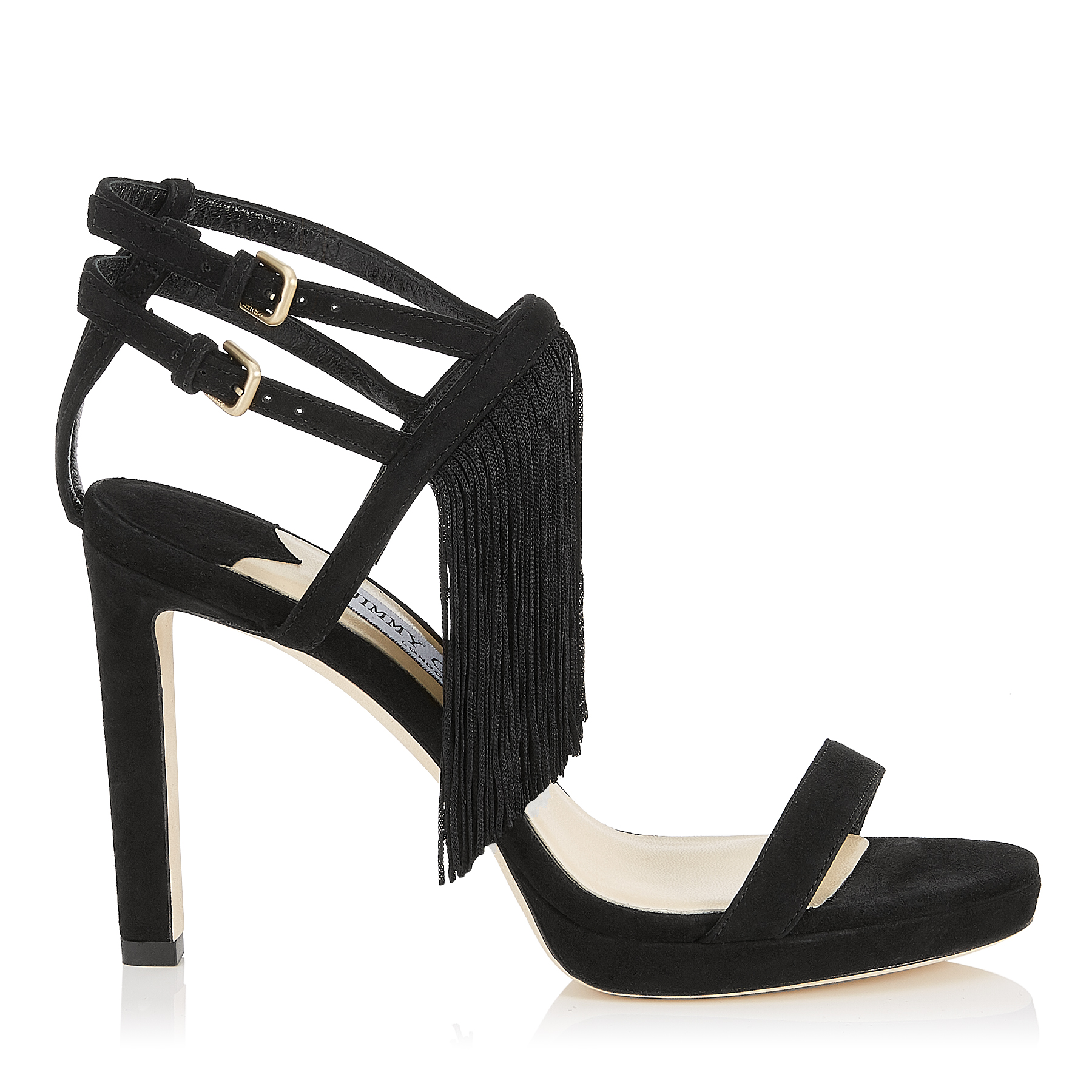 FARRAH 100 Black Suede Sandals with Fringe by Jimmy Choo