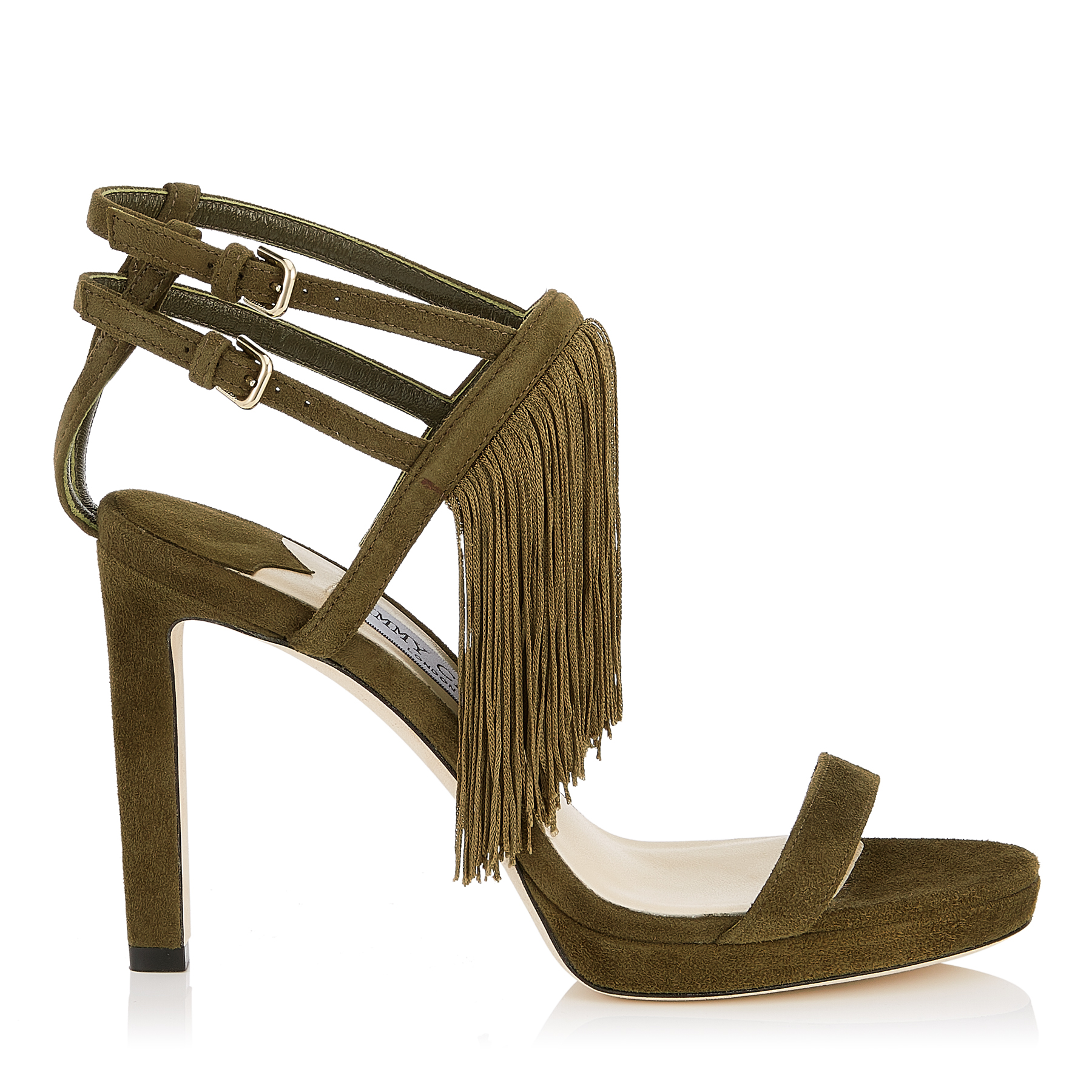 FARRAH 100 Olive Suede Sandals with Fringe by Jimmy Choo