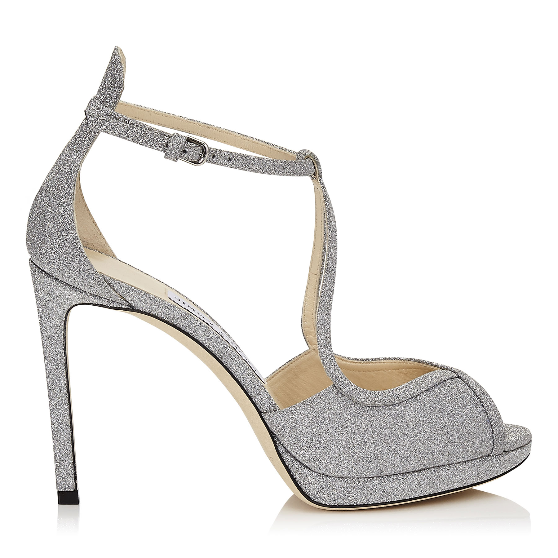 FAWNE 100 Silver Fine Glitter Leather Sandals by Jimmy Choo