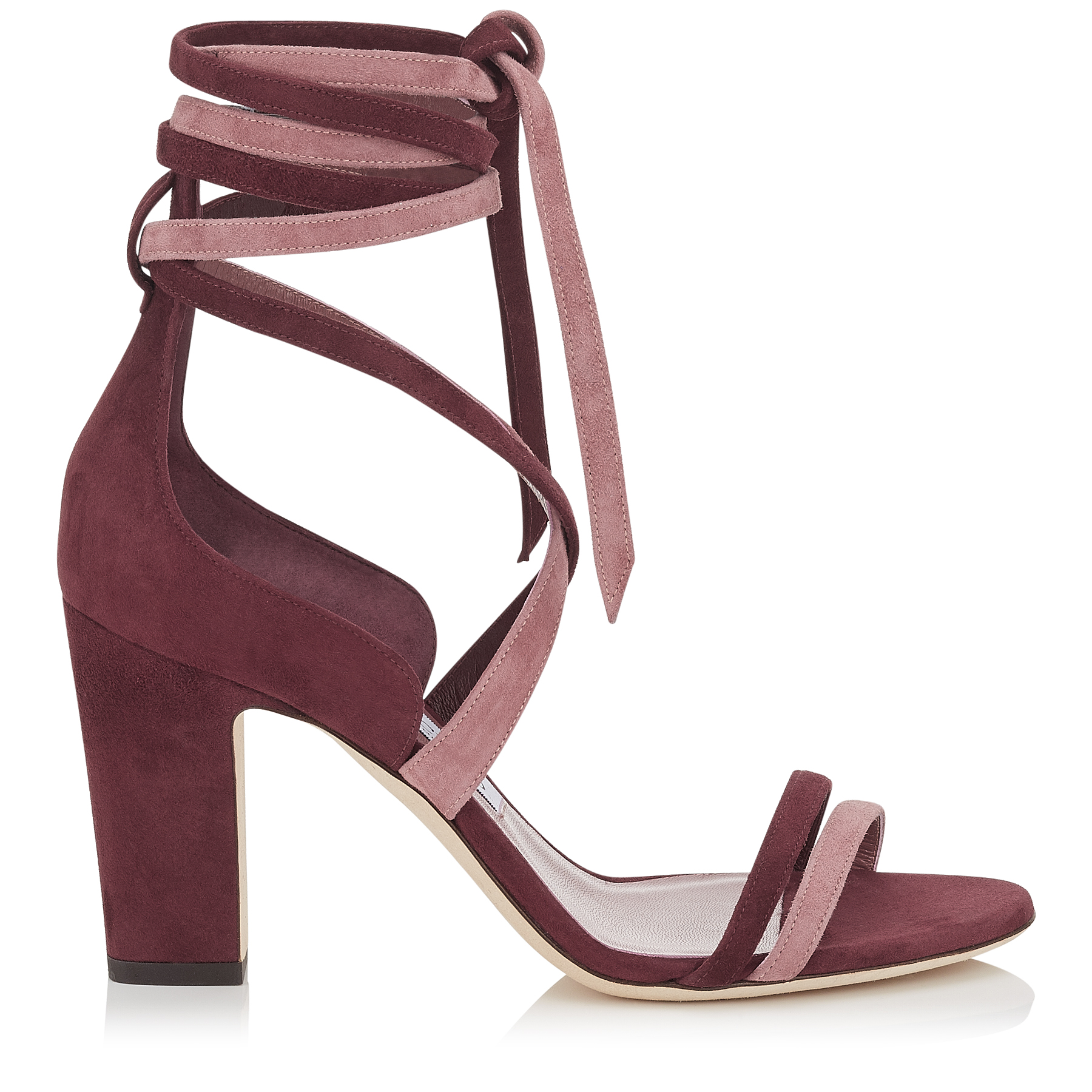 FLYNN 85 Vino Suede Mix Sandals by Jimmy Choo