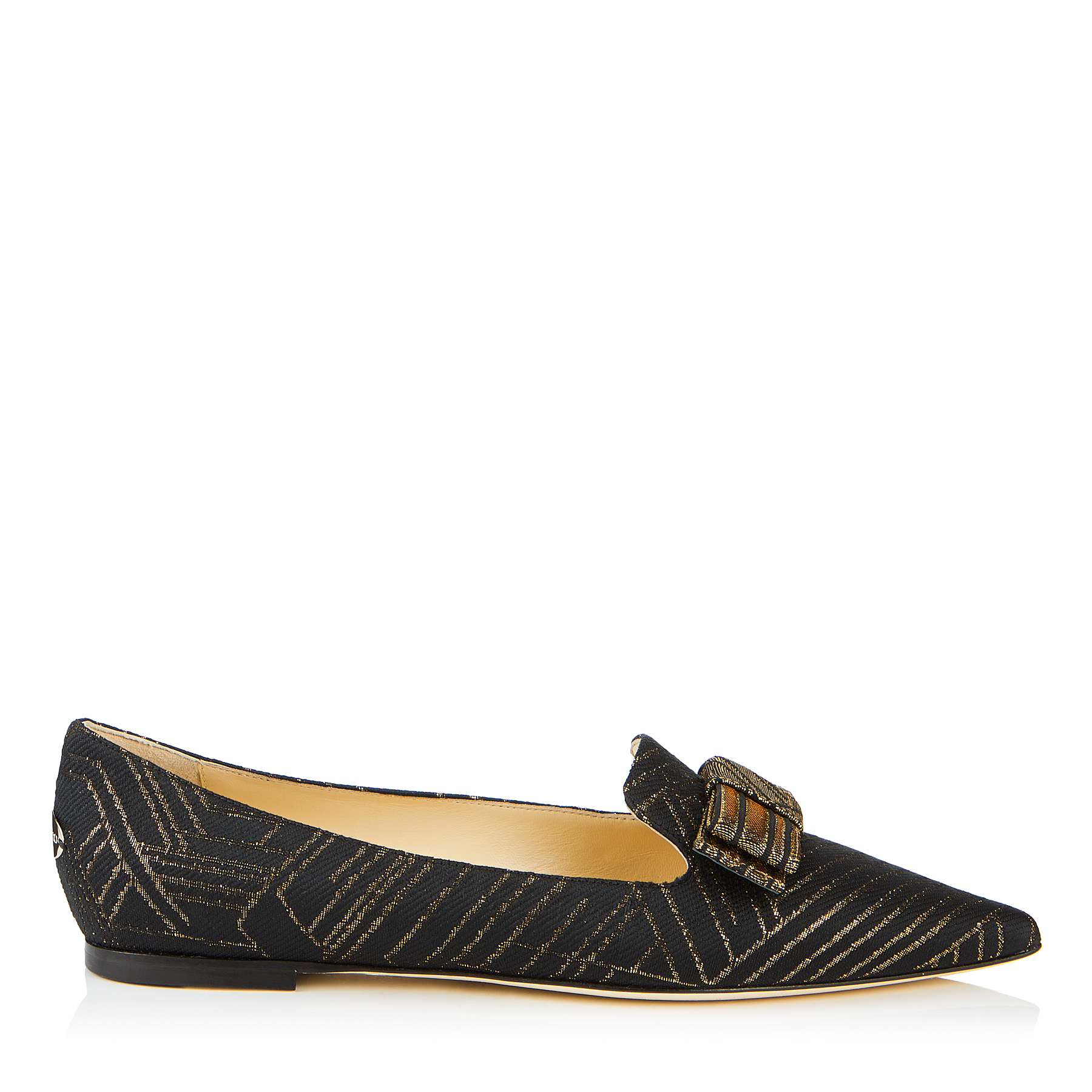 GALA Black and Gold Deco Graphic Fabric Pointy Toe Flats with Bow Detail by Jimmy Choo