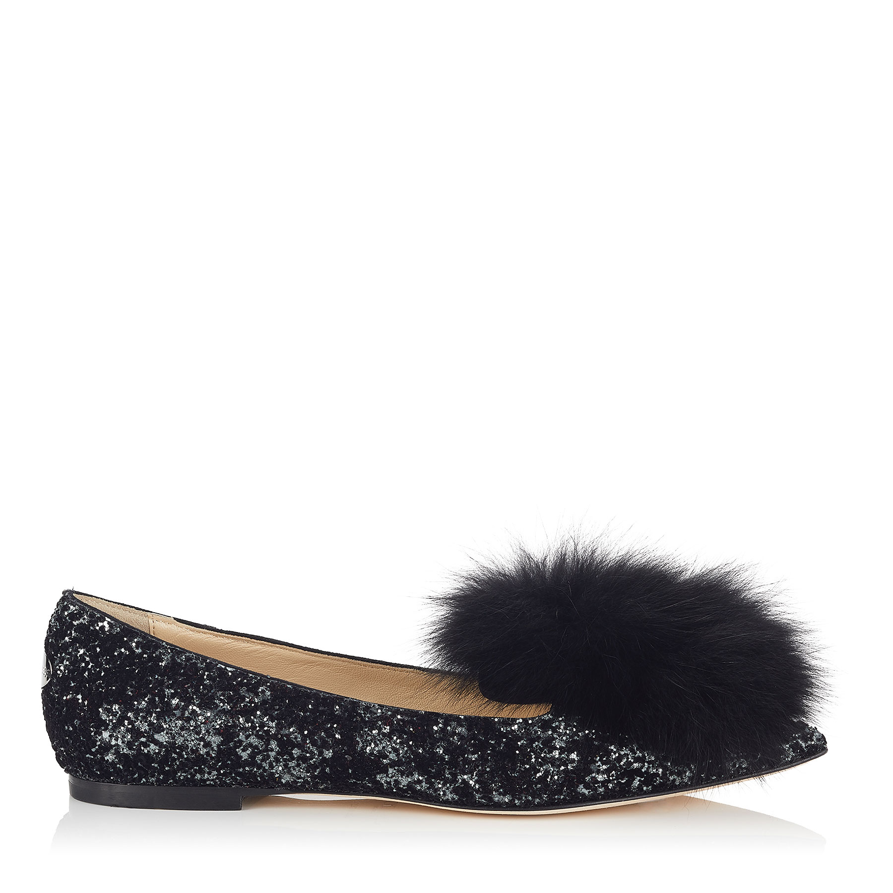 GALE FLAT Anthracite and Black Velvet Glitter Devore Pointy Toe Flats with Fox Fur by Jimmy Choo