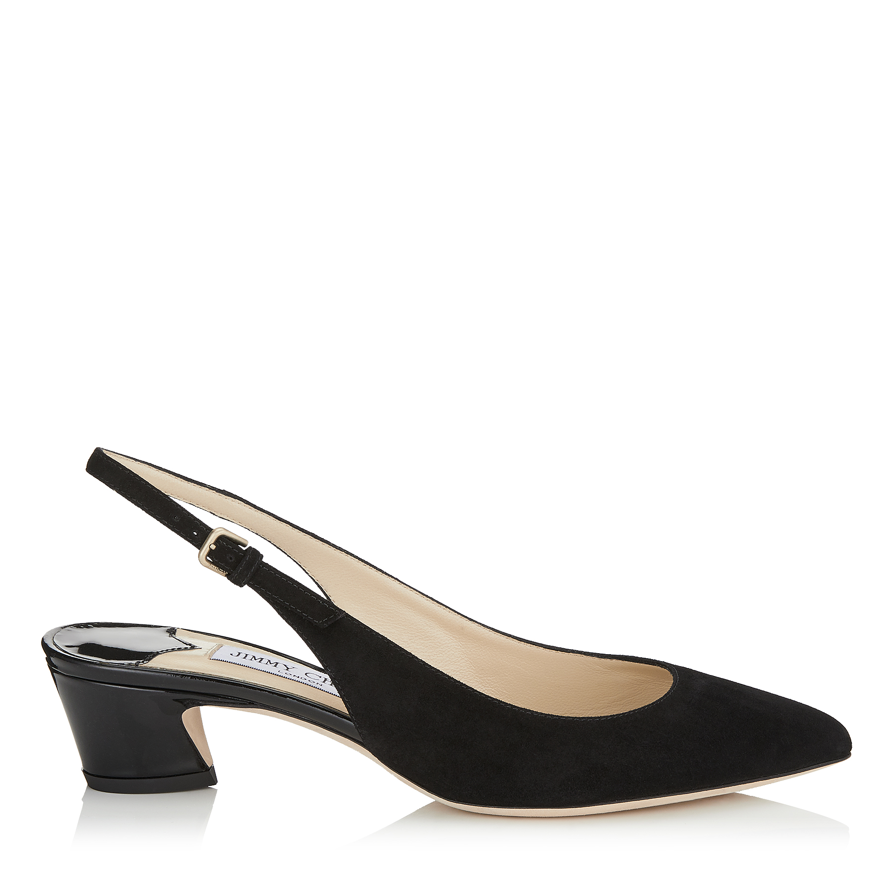 GEMMA 40 Black Suede and Patent Slingback Pumps by Jimmy Choo