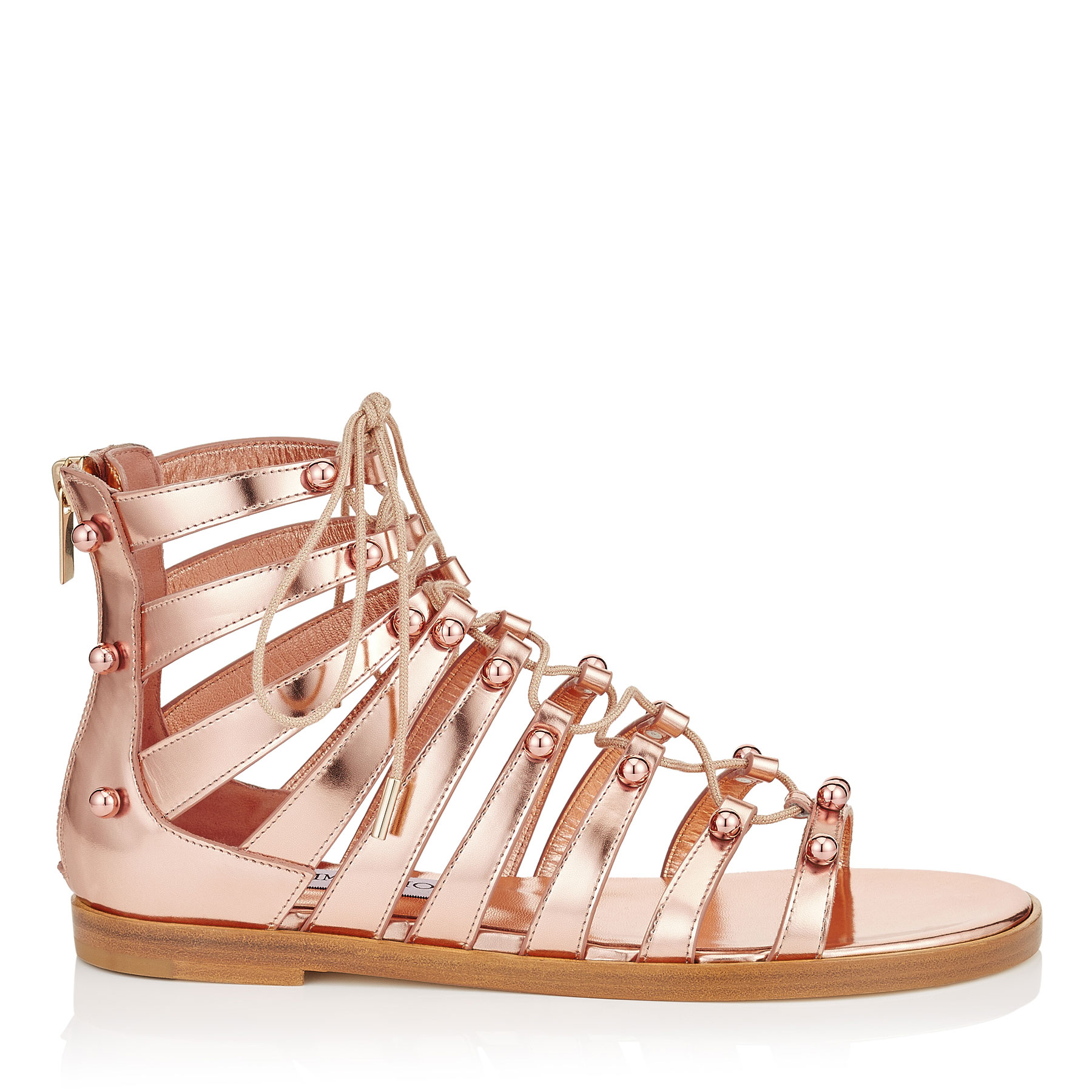 GIGI FLAT Tea Rose Mirror Leather Sandals with Beads by Jimmy Choo