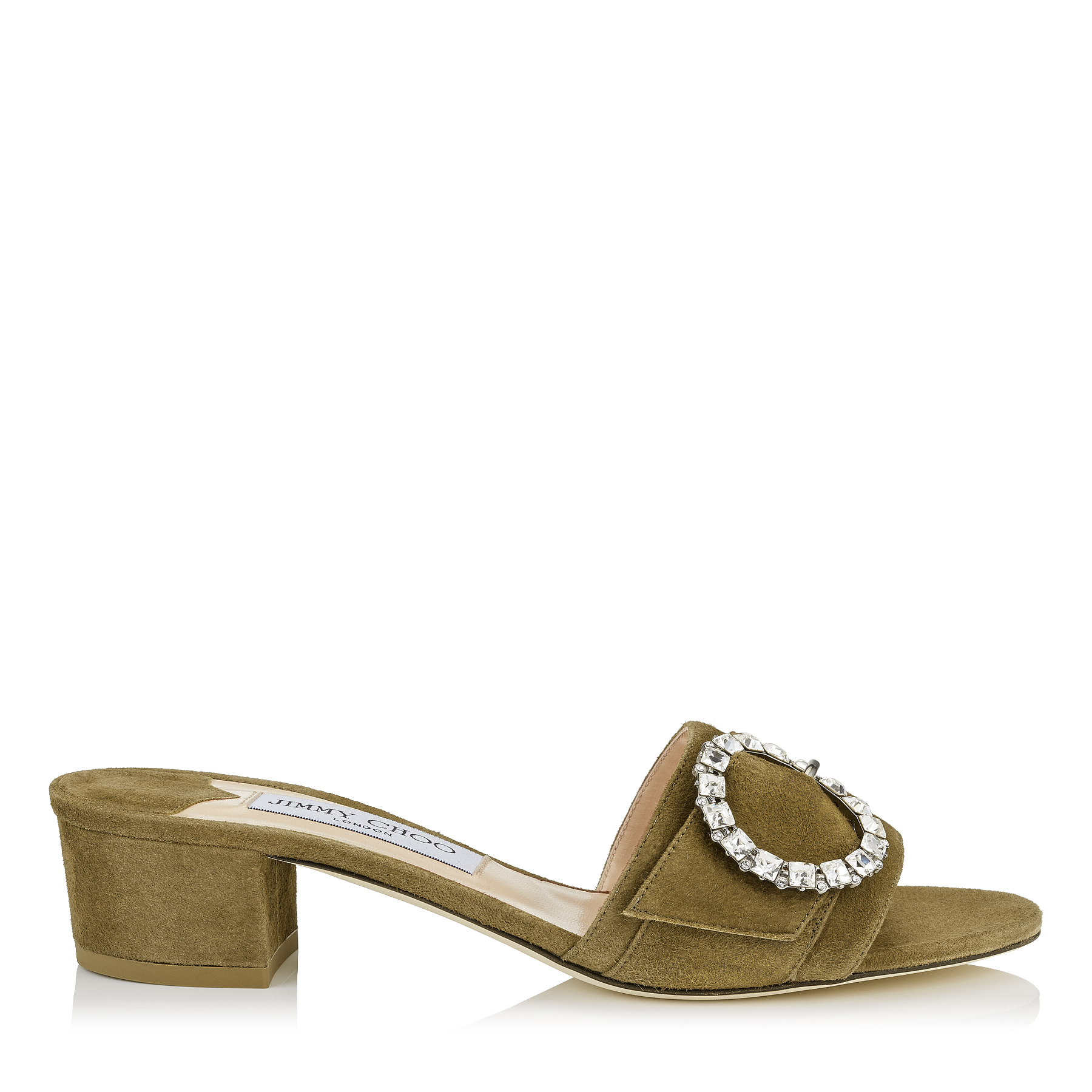 GRANGER 35 Olive Suede Mules with Crystal Buckle by Jimmy Choo
