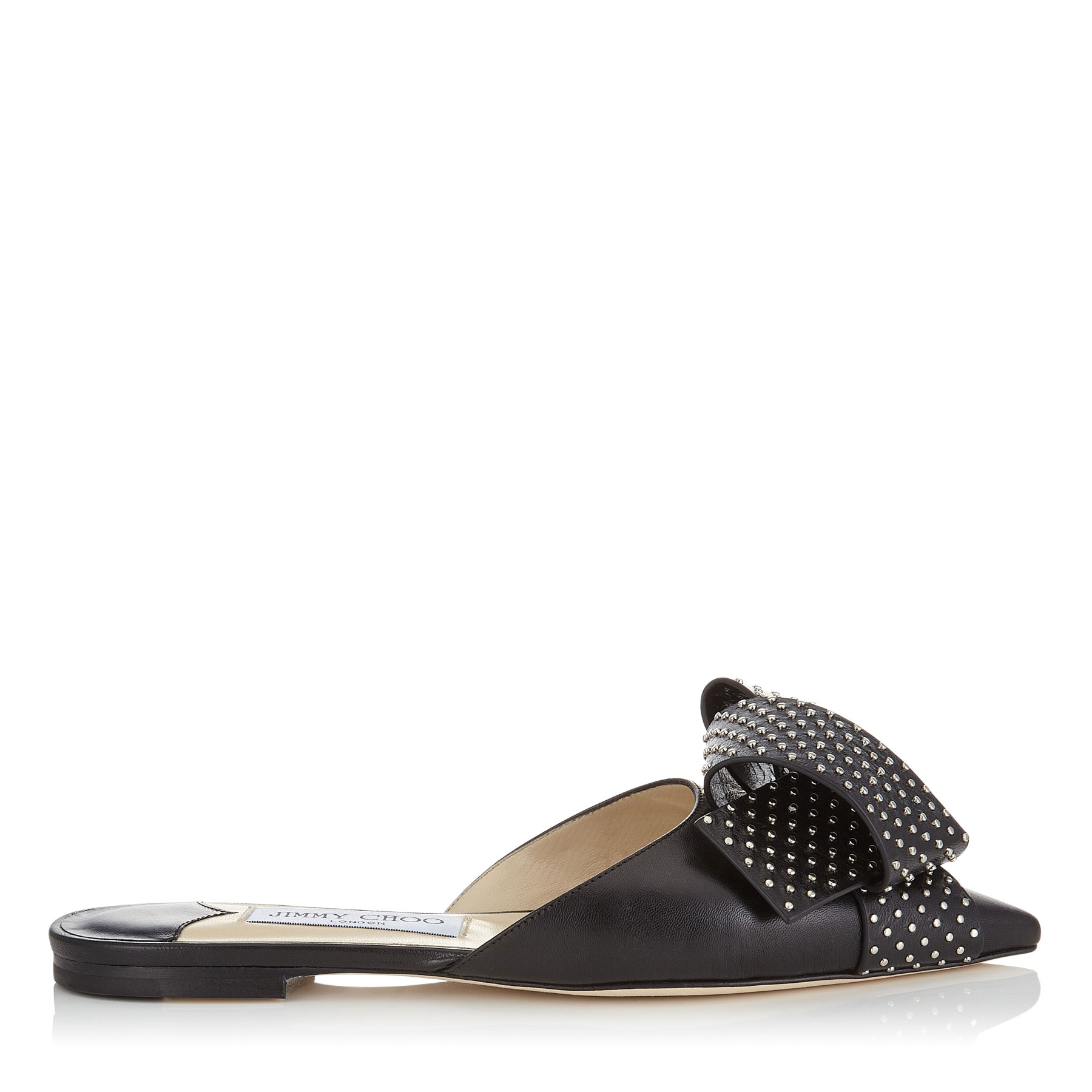 GRETCHEN FLAT Black Kid Leather Flats with Silver Studded Bow by Jimmy Choo