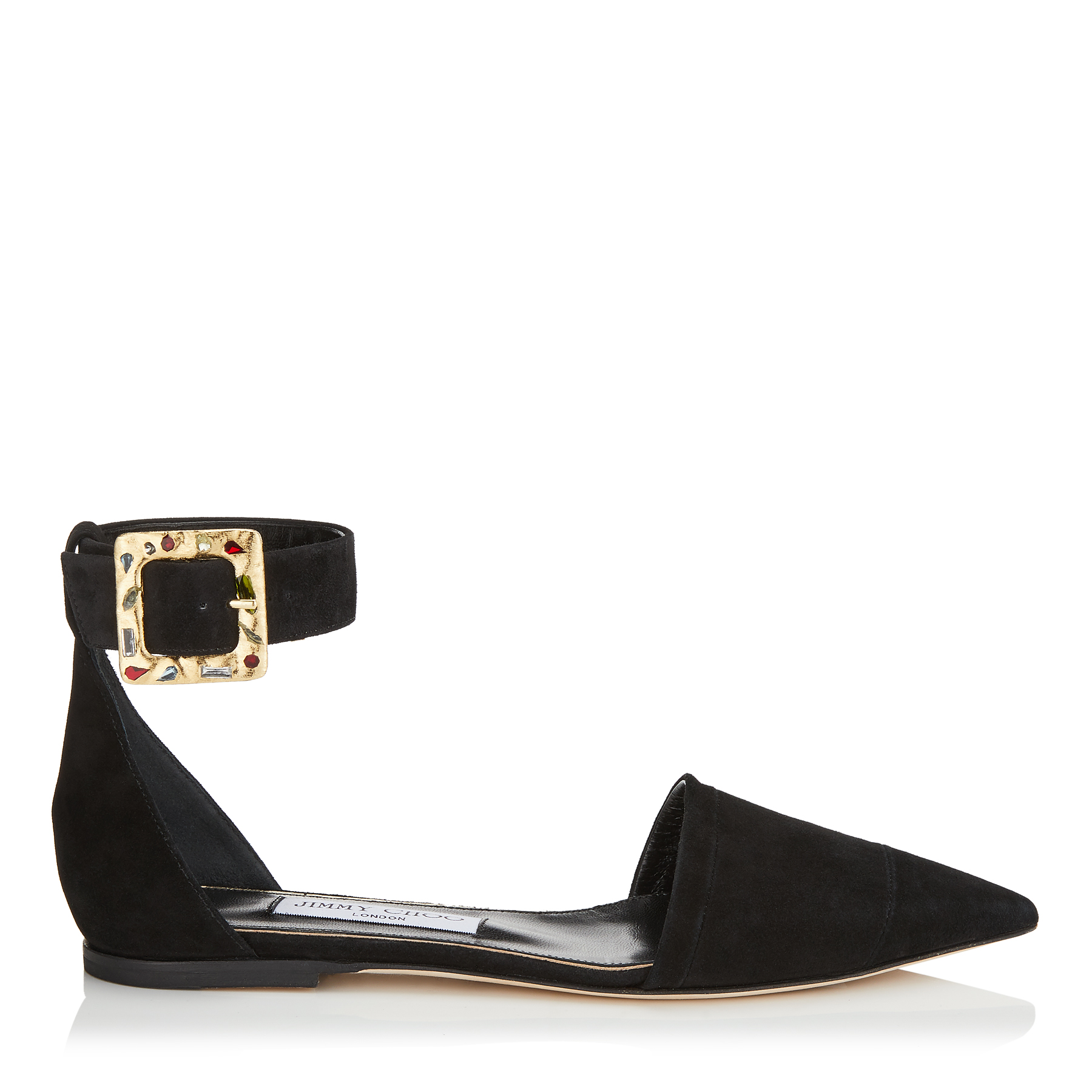 HALINA FLAT Black Suede Pointy Toe Flats with Jewelled Buckle by Jimmy Choo