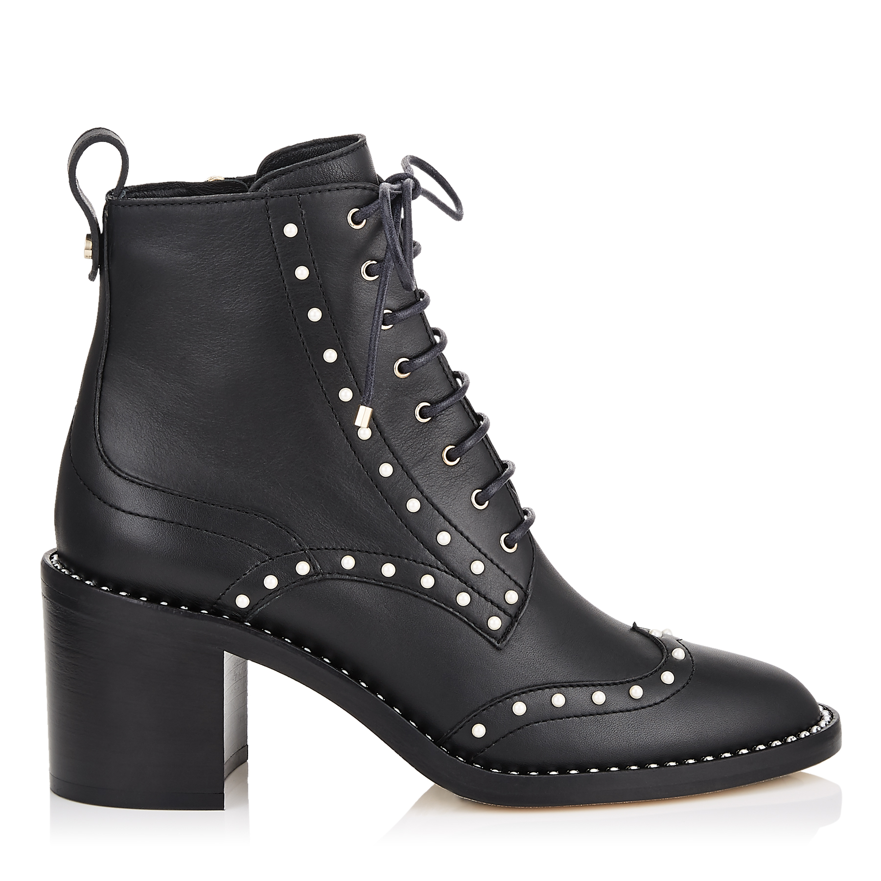 HANAH 65 Black Smooth Leather Booties with Pearl Detailing by Jimmy Choo