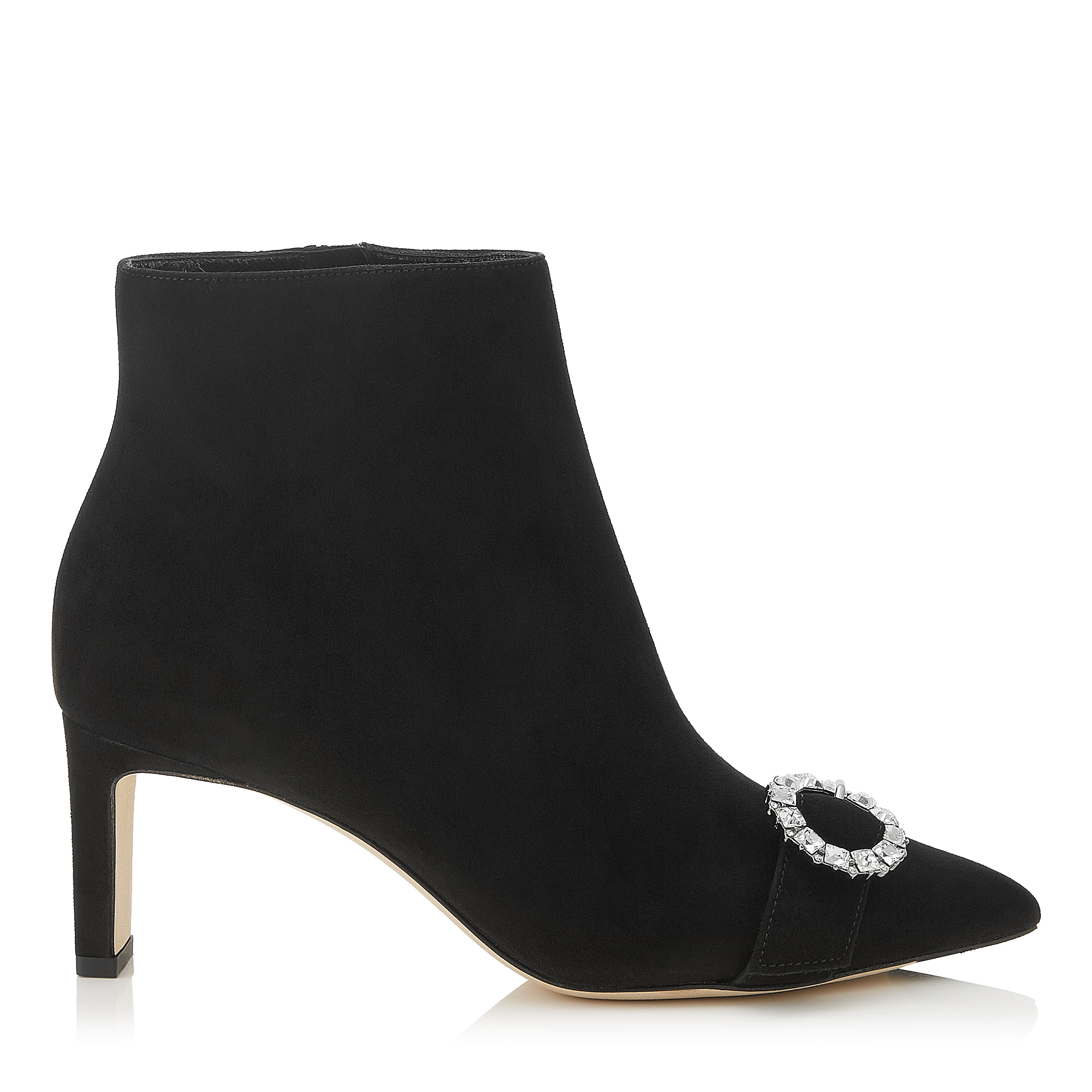 HANOVER 65 Black Suede Booties with Crystal Buckle by Jimmy Choo