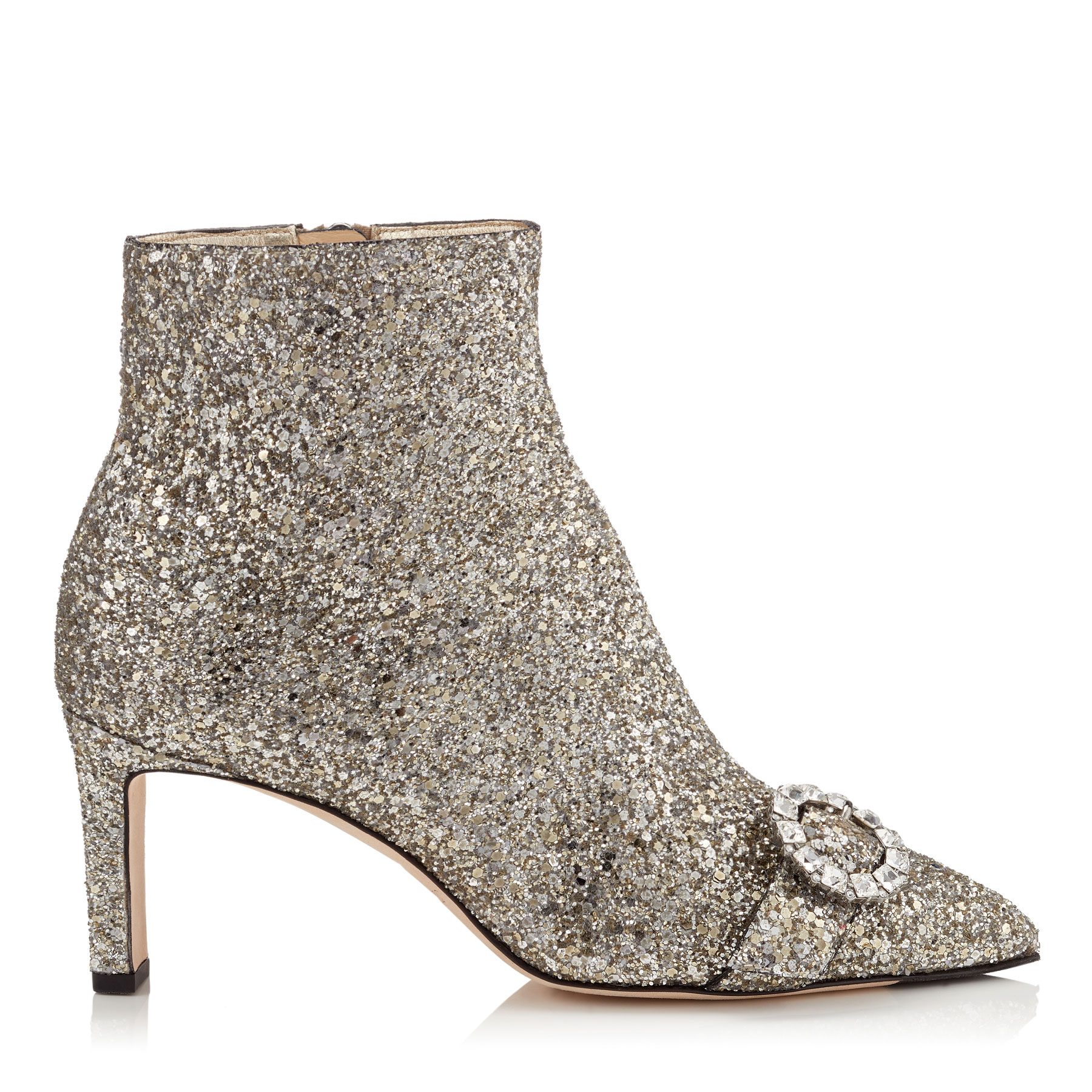HANOVER 65 Chai Shadow Coarse Glitter Fabric Booties with Crystal Buckle by Jimmy Choo