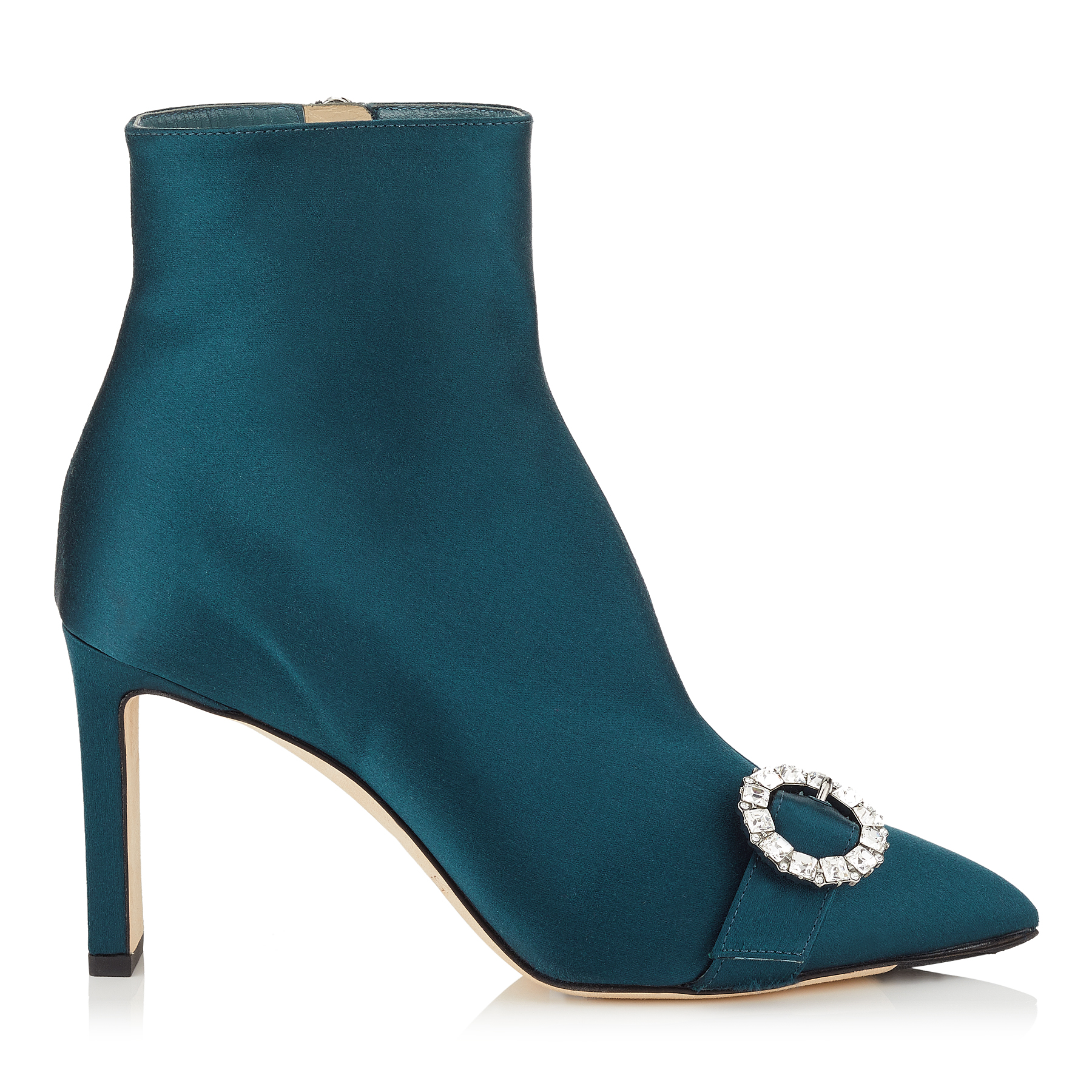 HANOVER 85 Dusk Blue Satin Booties with Crystal Buckle by Jimmy Choo